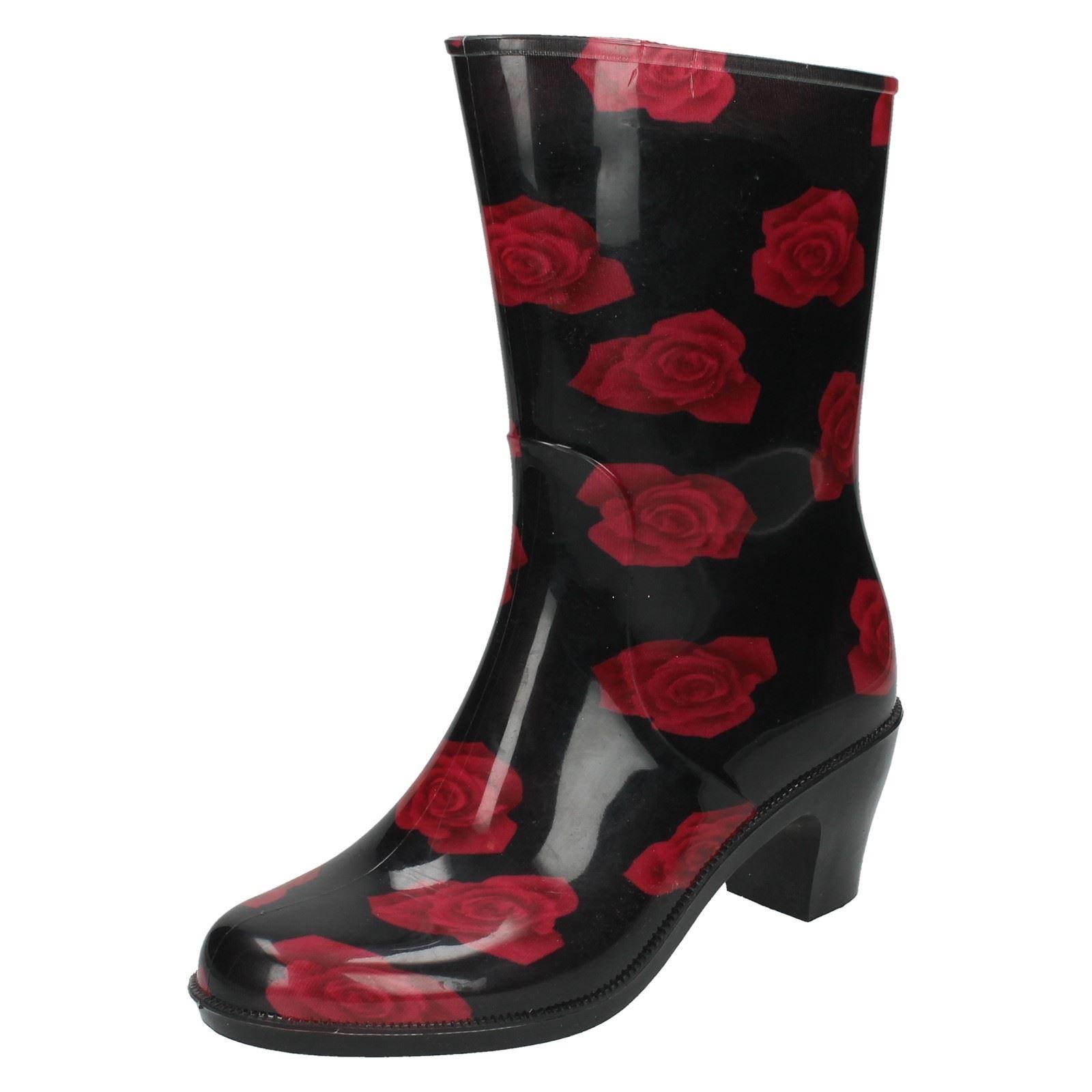 Ladies Spot On Heeled Rose Print Wellington Boots