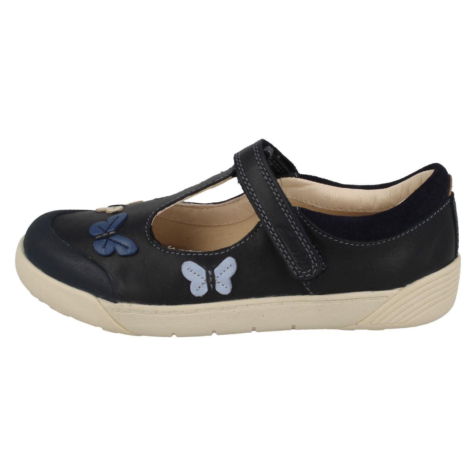 Clarks Folk Zapatos Flo para T Lil bar azul niñas marino azul dEEqAFr