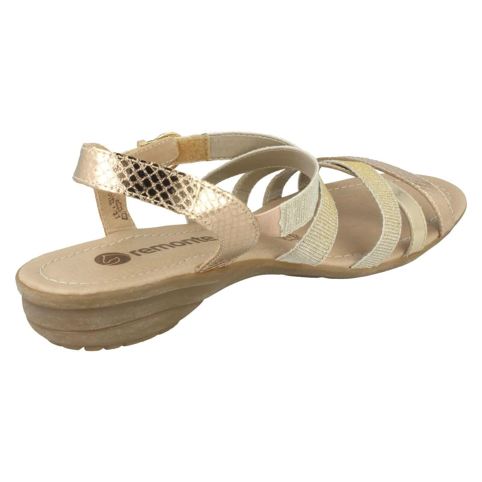 Sandals Strappy Gold Remonte Womens R3631 1nwOqAEHx