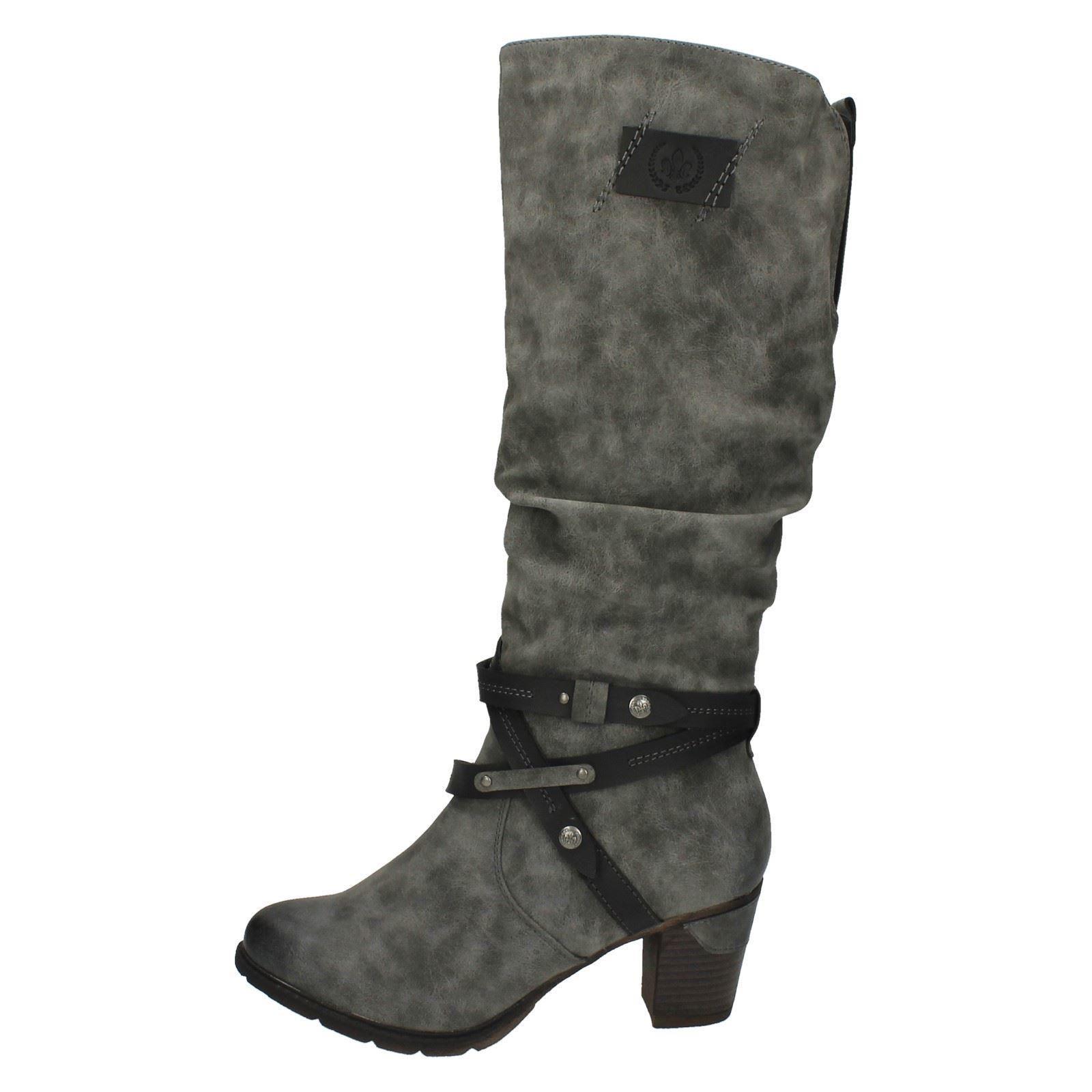 039-Damen-Rieker-039-konisch-Zeh-warm-gefuettert-lange-Stiefel-96054