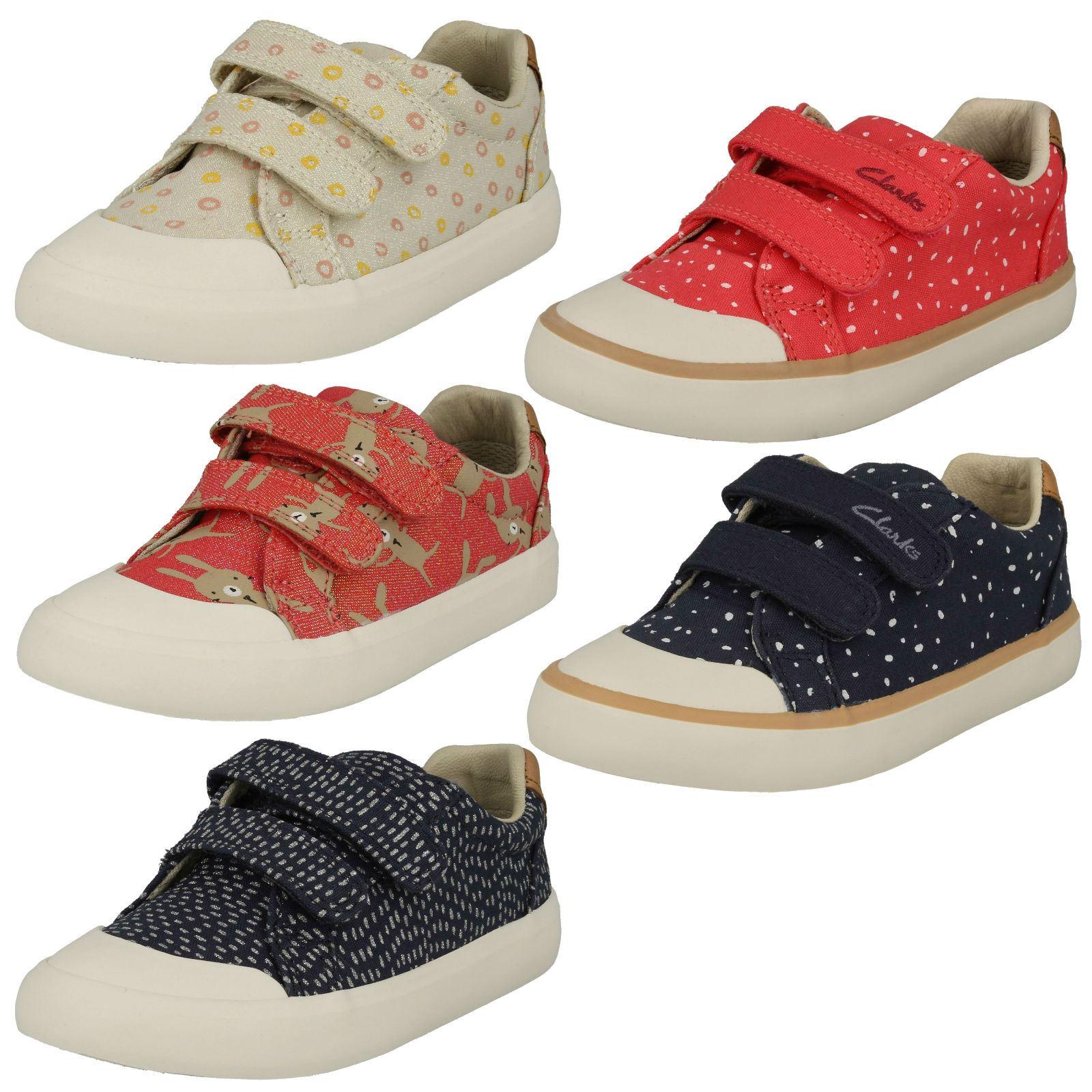 Clarks Doodles Boys Girls Fabric Velcro Fasten Shoes Baby Infant Kids