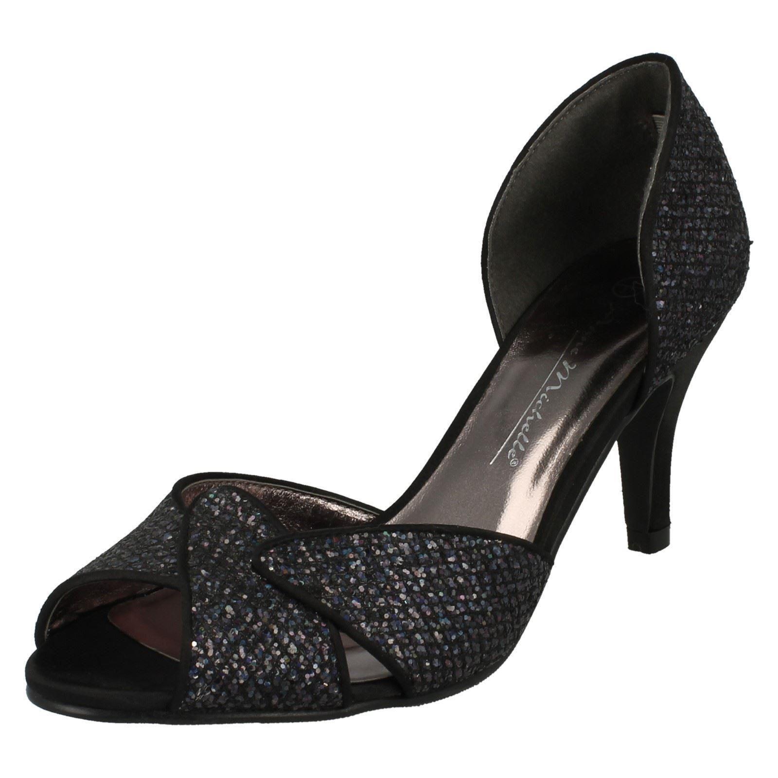 0cb699697f45 Ladies Anne Michelle Glitter Evening Shoes F10309 K Black UK 8 ...