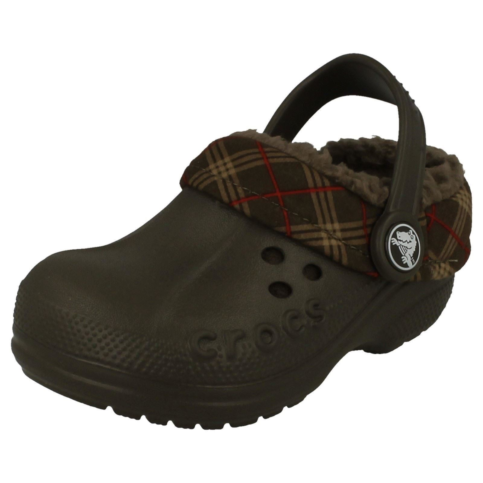 d47c40cf37a86 Details about Crocs Boys Sandals - Blitzen Winter Plaid Kids