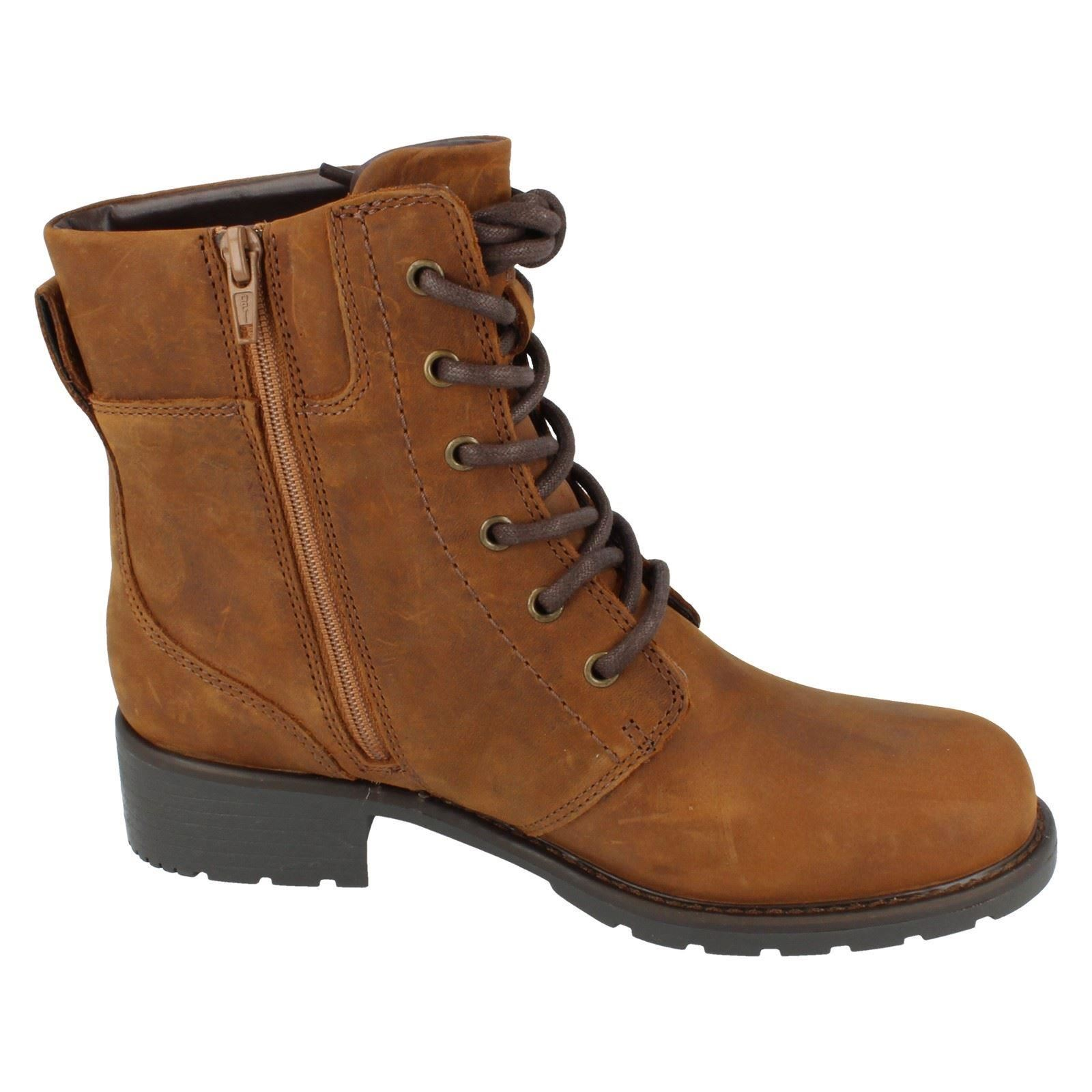 Ladies-Clarks-Casual-Lace-Up-Inside-Zip-Nubuck-Leather-Ankle-Boots-Orinoco-Spice thumbnail 16