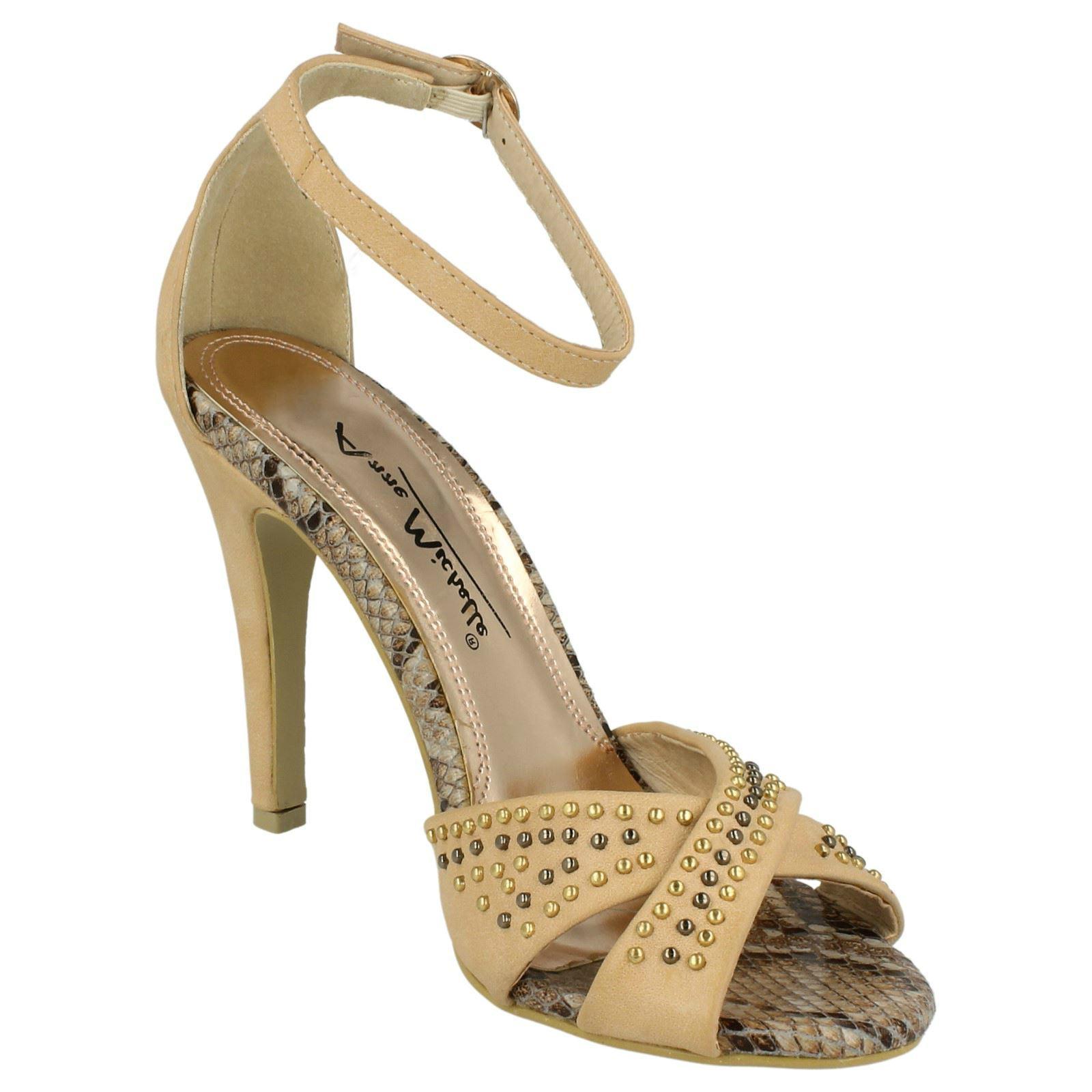 Ladies Ankle Strap Studded Detail Sandals Anne Michelle Black Camel Coral L3391
