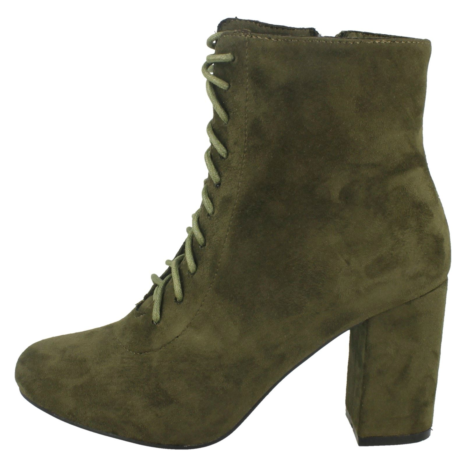 Ladies Black//Dark Grey//Khaki  Spot On Lace Up Heeled Ankle Fashion Boots F5R0854