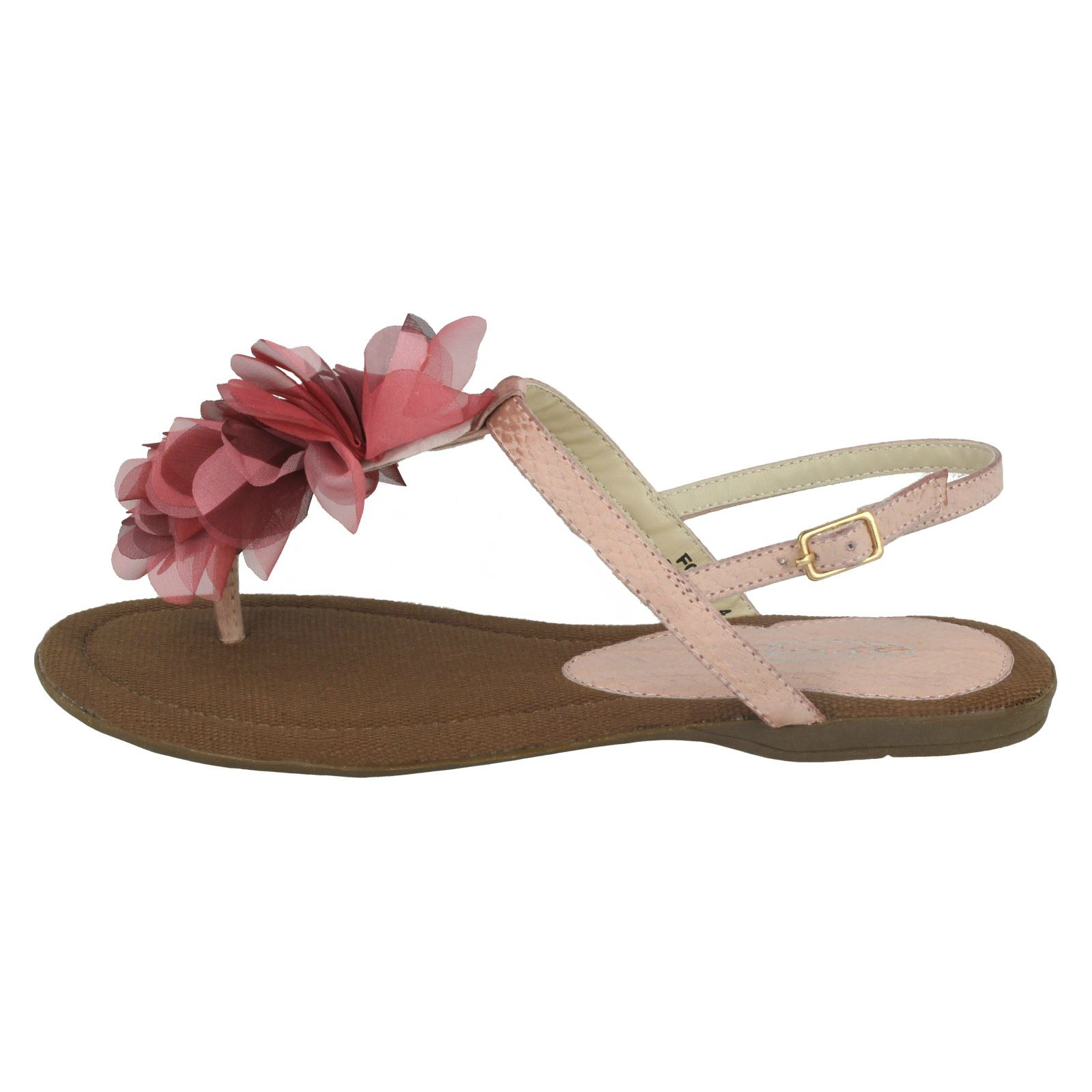 Damas Spot on Flat Sandalias Toe Post Con Detalle De Flor