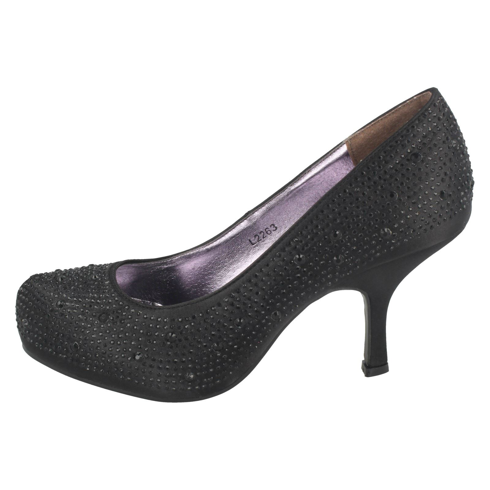 Ladies Anne Michelle Satin Beaded 'Court Shoes'
