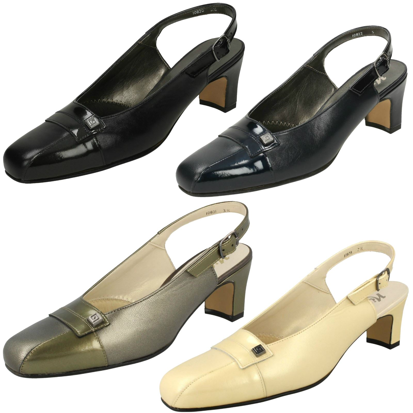 35358e9a85f Details about Nil Simile Ladies Narrow Fitting Slingback Shoes - Delaware
