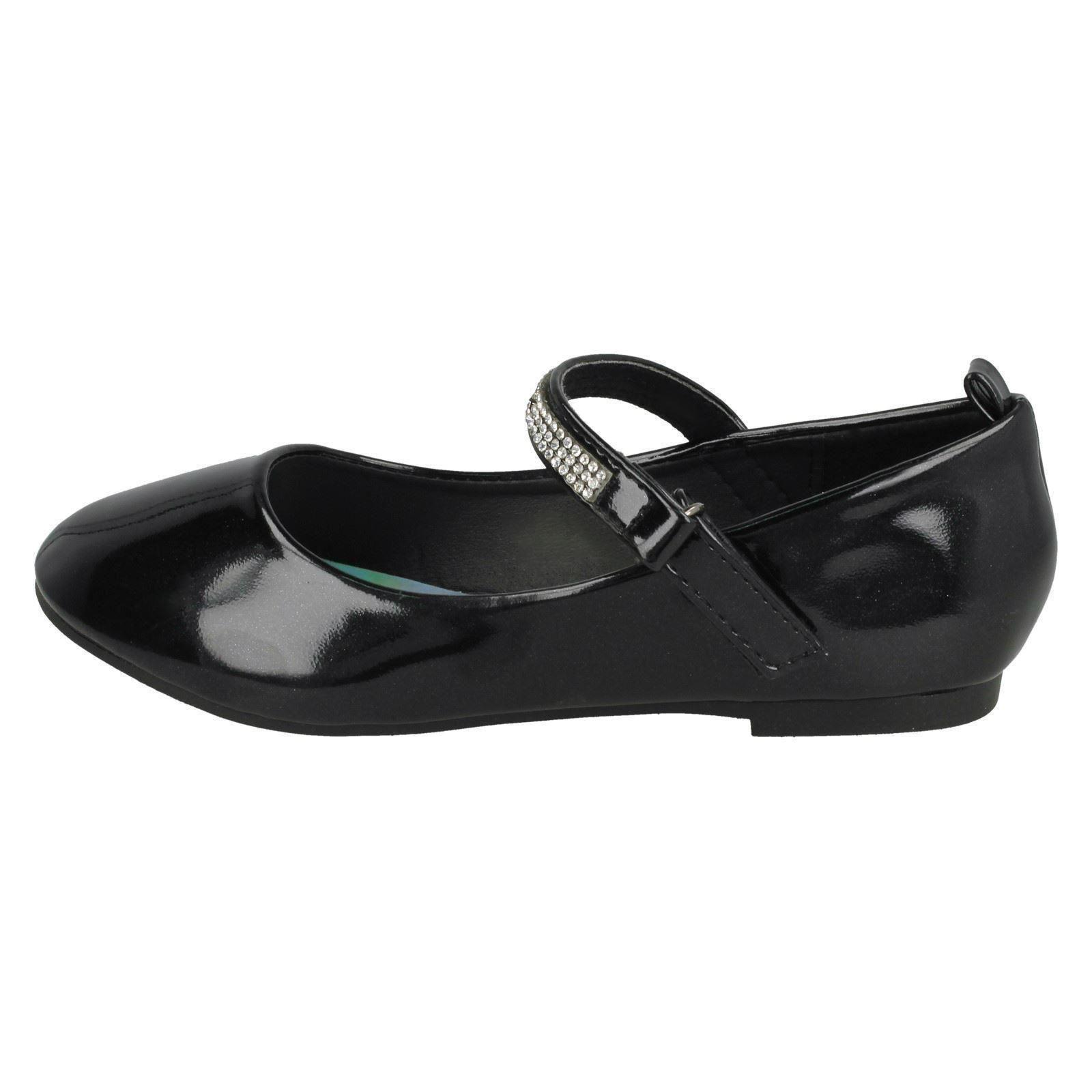 Spot On Girls Diamante Bar Strap Ballerina Shoes