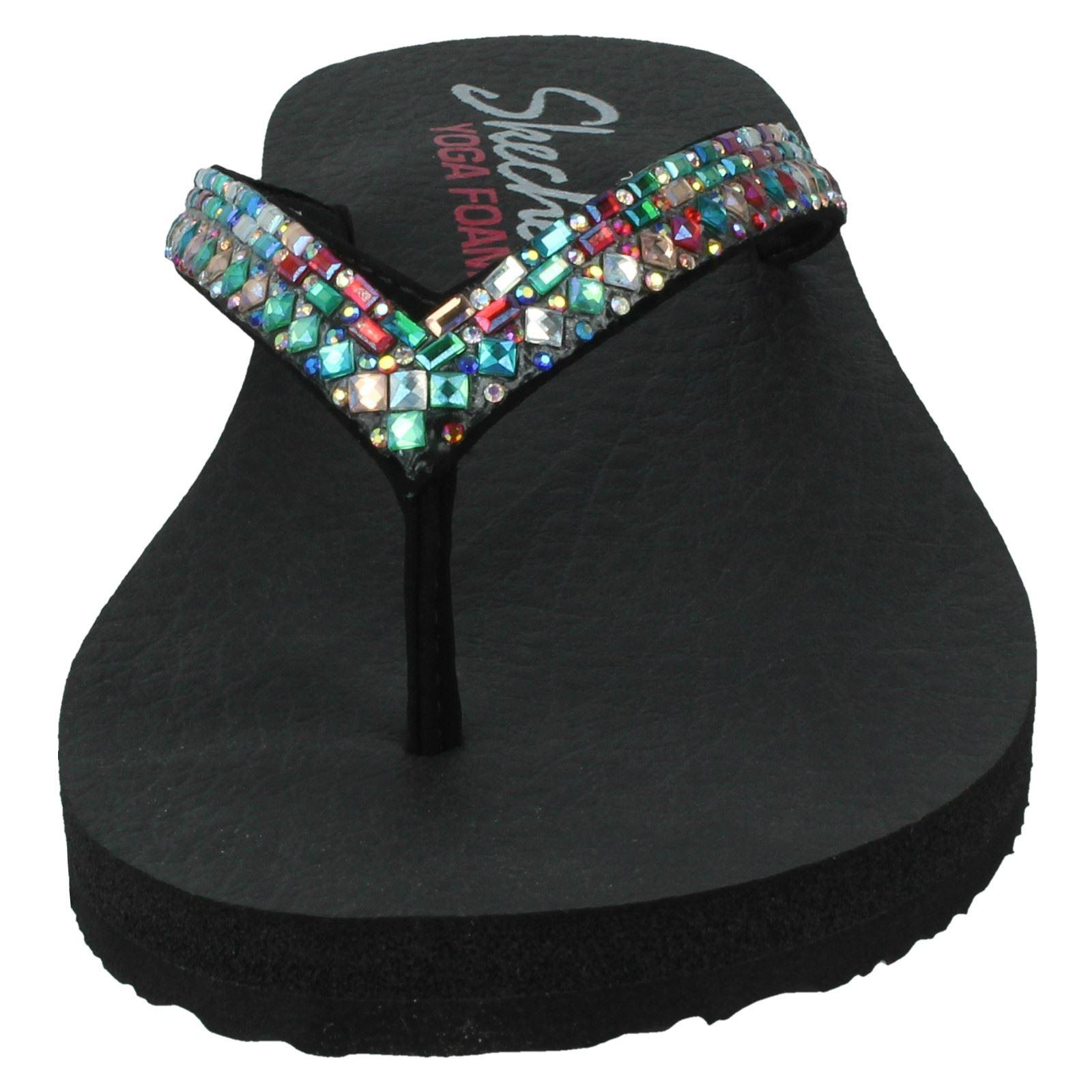 Damen Skechers Yoga Foam Slipper Synthetik Komfort Sandalen