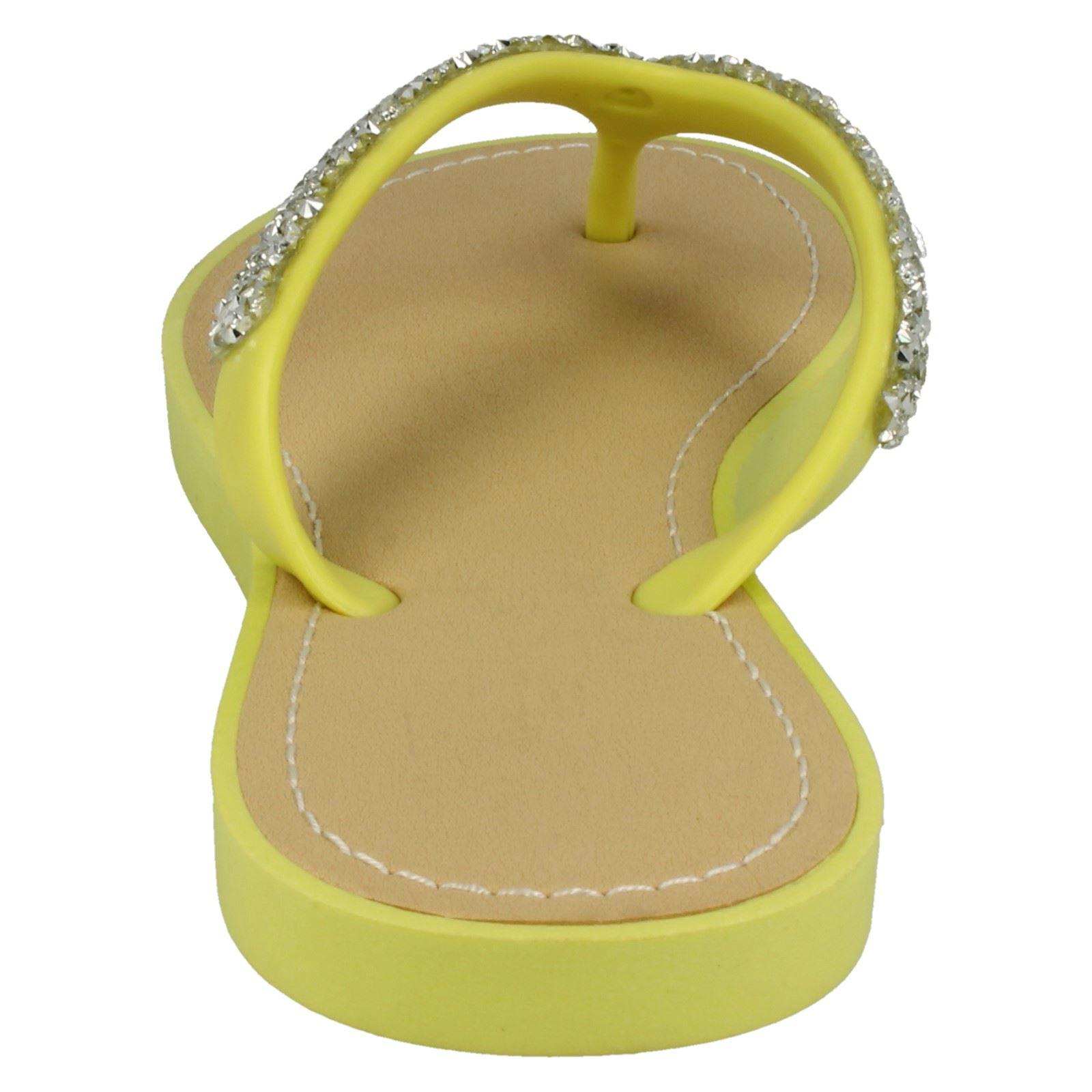 Damas Savannah Toepost Plano aplastado Brillo Diamante Sandalias De Ajuste F0806