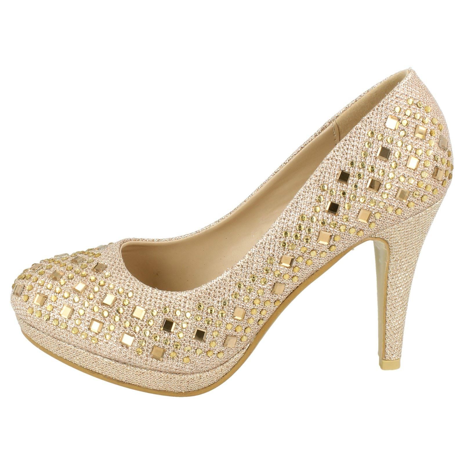 fd2231491 Ladies Jeweled Court Shoes Anne Michelle F9804 UK 7 Nude gold Textile.  About this product. Picture 1 of 10  Picture 2 of 10  Picture 3 of 10 ...