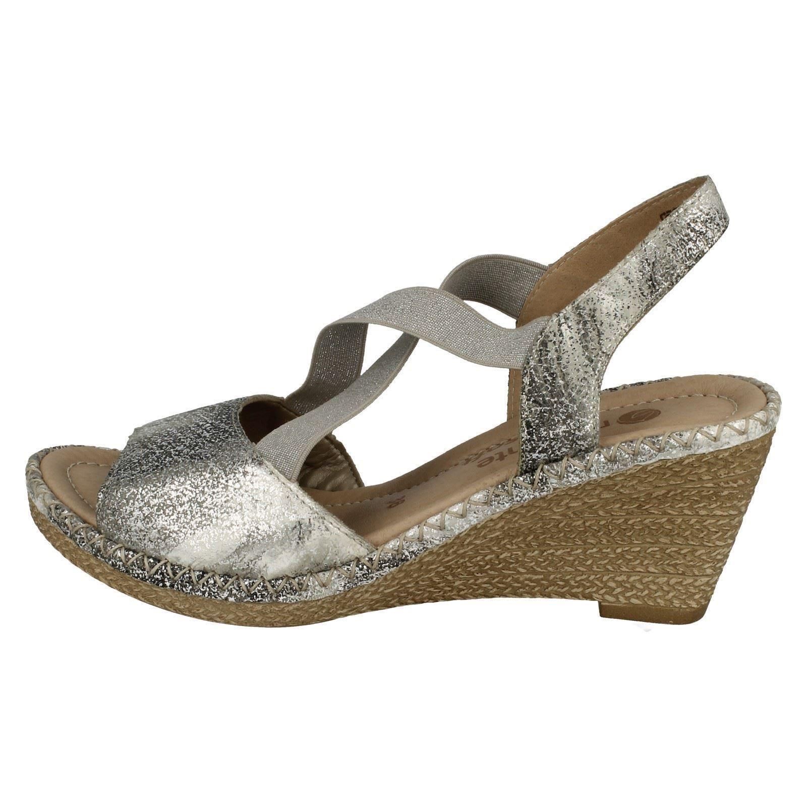 platino Ladies Toe Remonte con X argento D6732 Strap Argento Open zeppa Sandali Slip On estiva sintetica 6ga6qpr