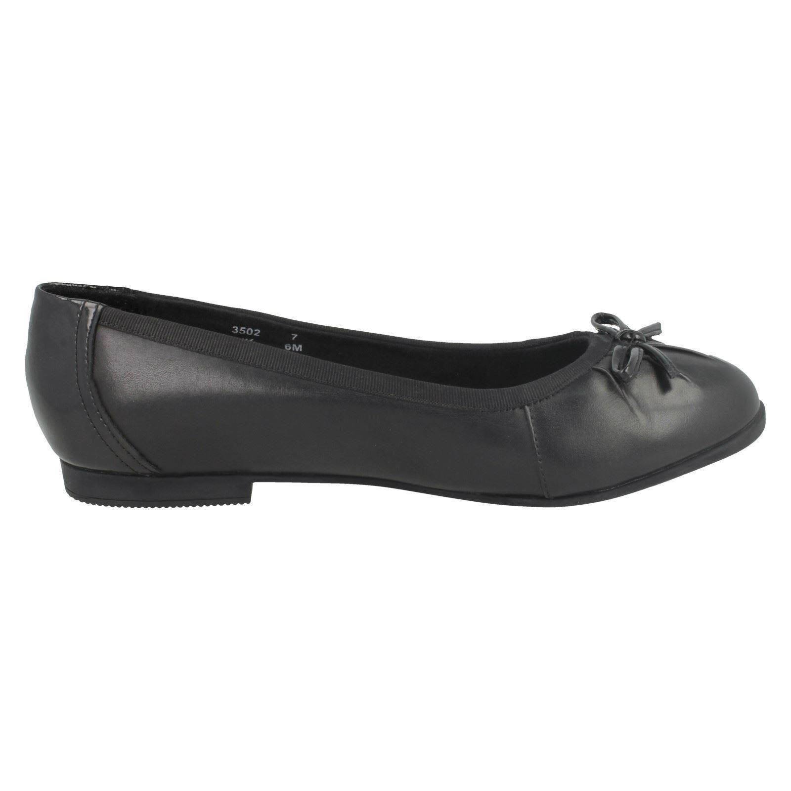 Ladies //Girls Black Leather Angry Angels Startrite Slip On Dolly Shoes Spotlight