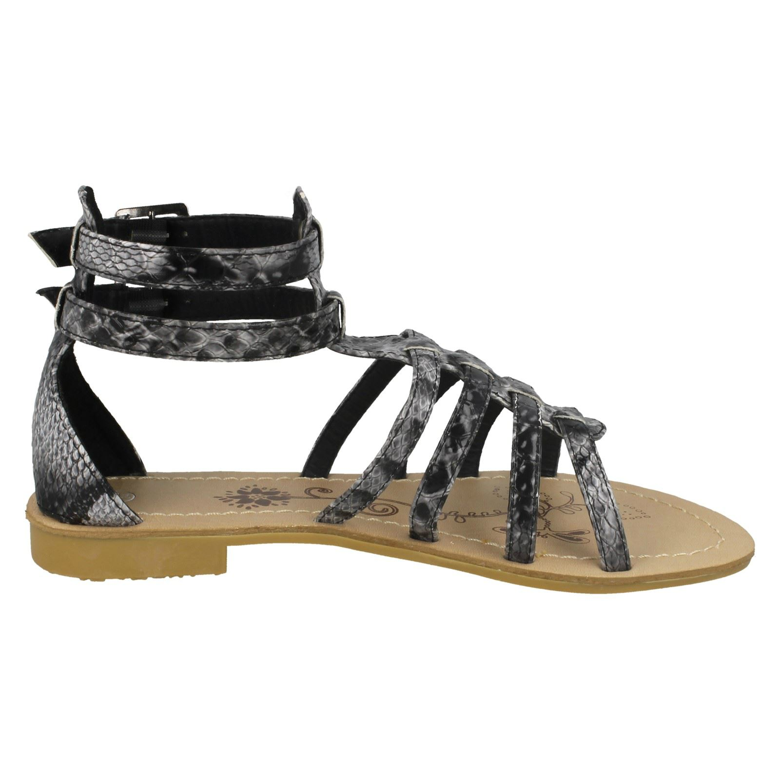 Niñas Punto en doble hebilla Sandalias Gladiador 'H0047'