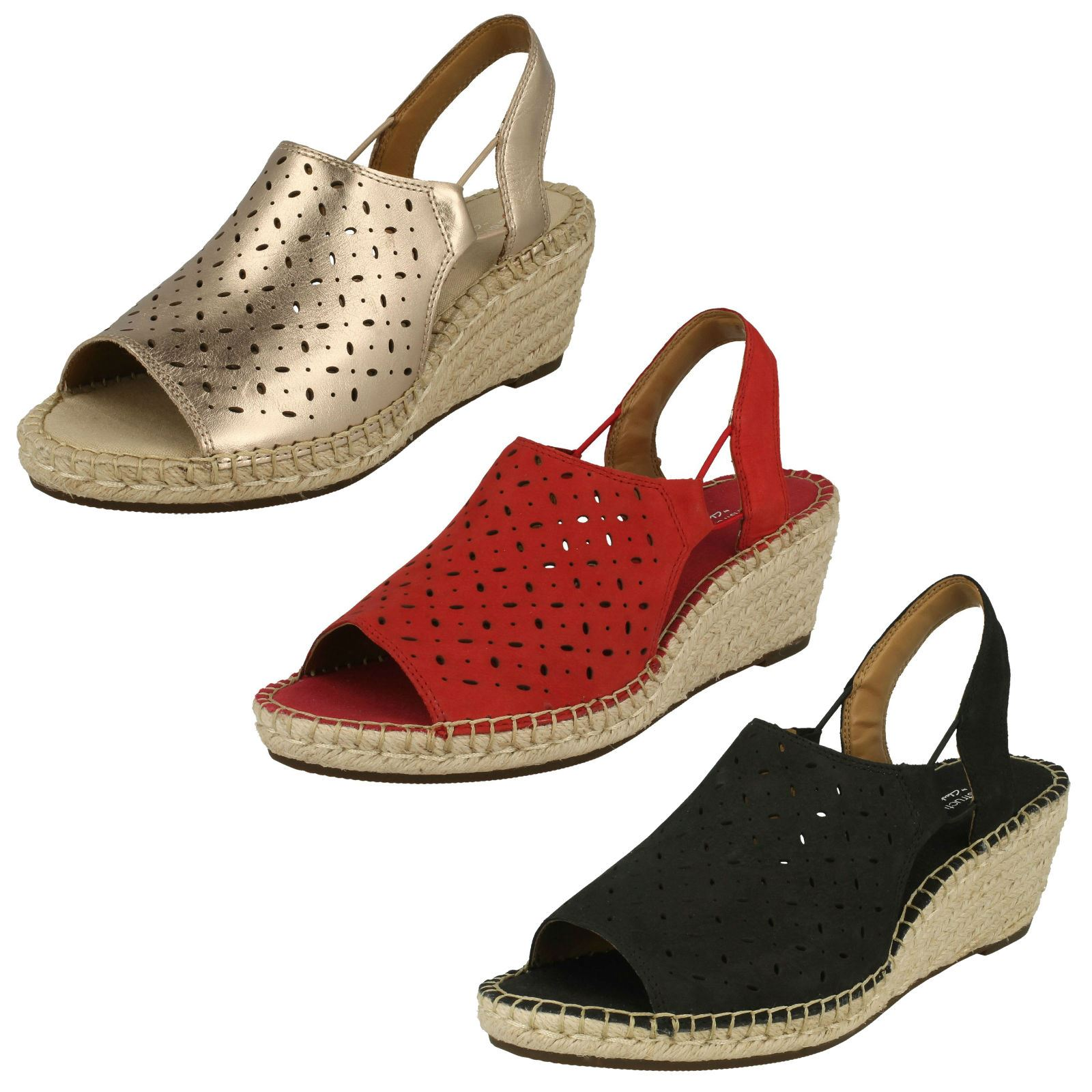 f8c4fc37fb45 Details about Ladies Clarks Leather Nubuck Slingback Wedge Heel Sandals - Petrina  Gail