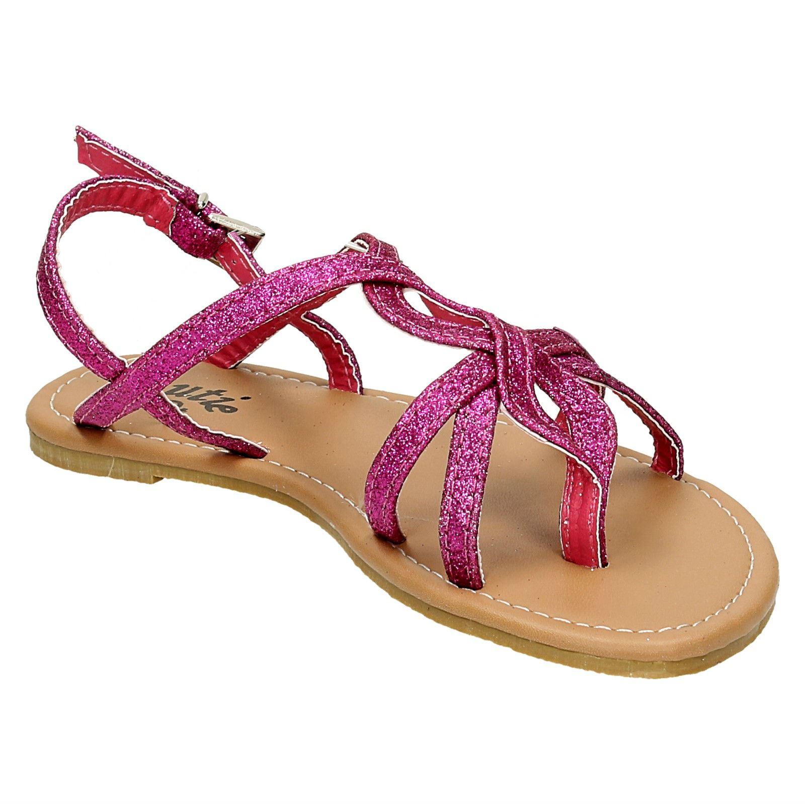 Chicas Cutie Tejido Glitter Toe Post Sandalias
