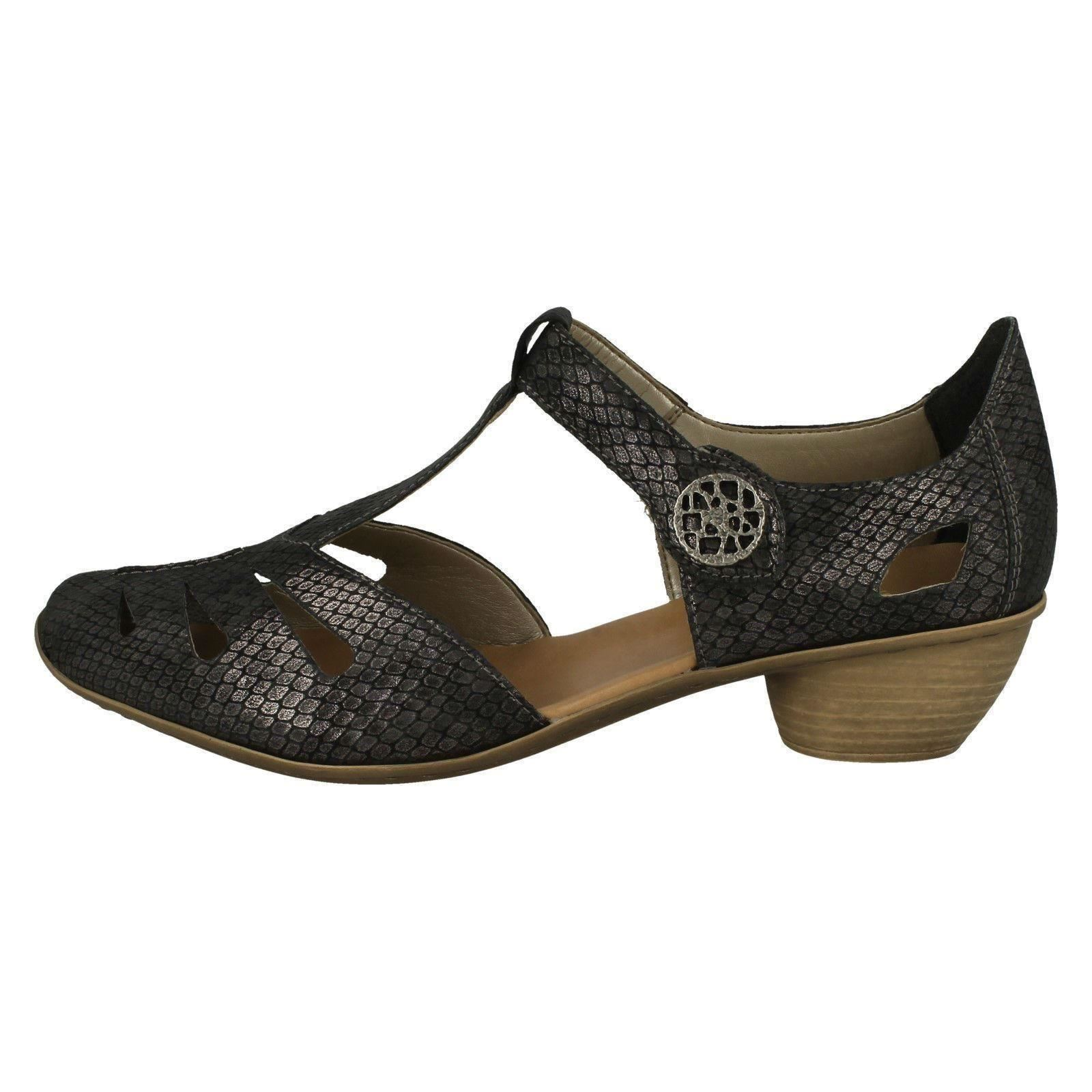 Shoes Heeled '43750' Fastening Ladies Bar Rieker T Grey Riptape Cwzn6qS