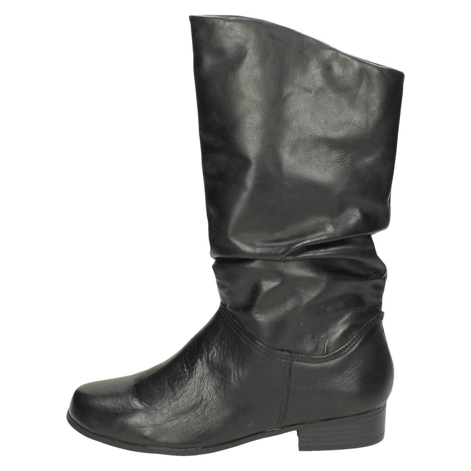 Leather Collection para mujer PULL UP Media Caña Botas Label - f50694