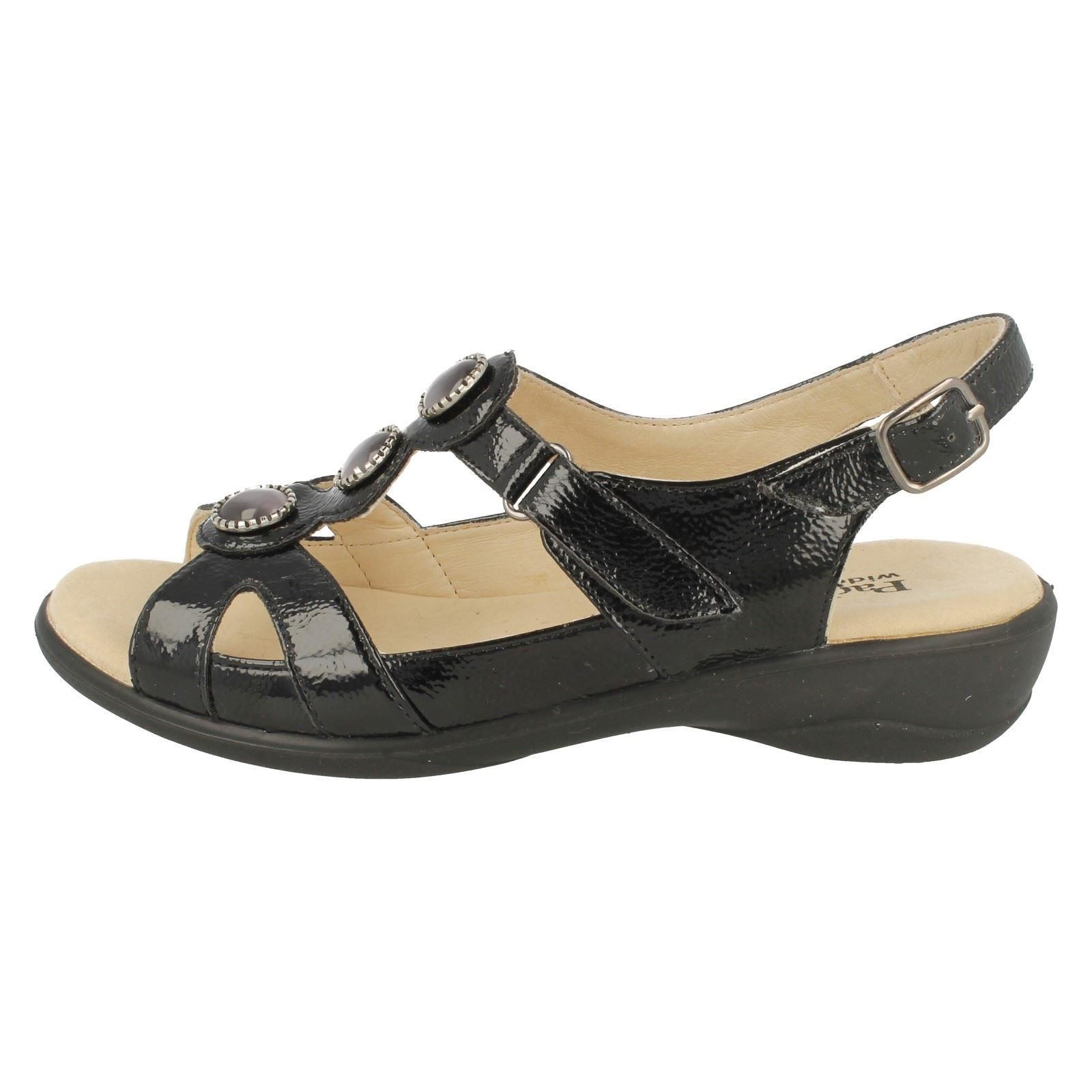 Strap Black Sandals Padders Precious Fitting Back Ladies Wide Open wnxXRB77Pq