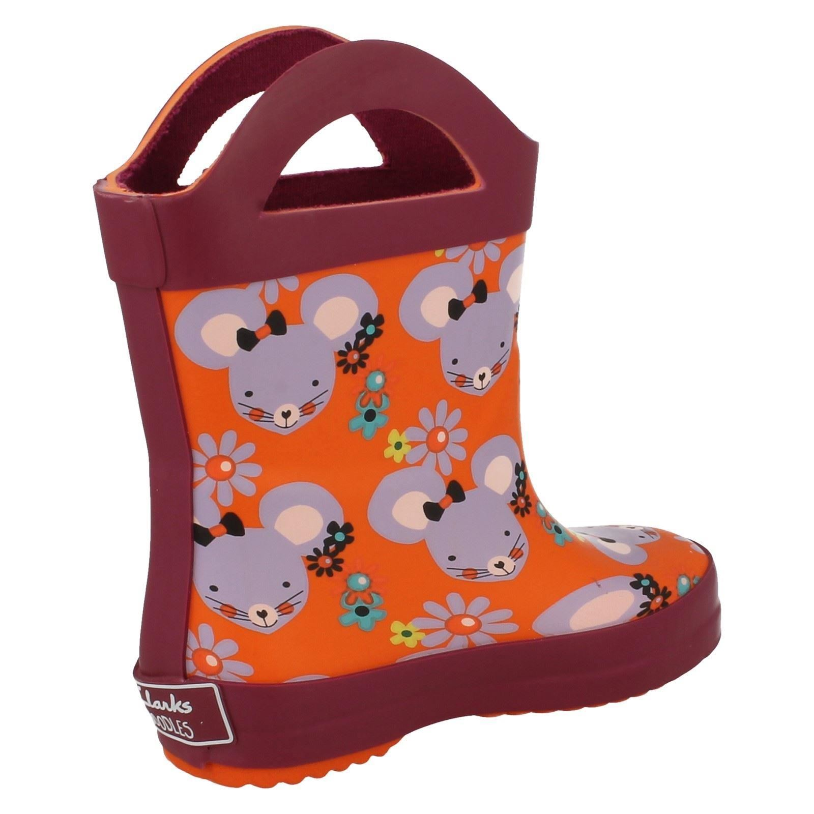 Infant-Girls-Clarks-Wellington-Boots-with-Handles-Plain-Candy