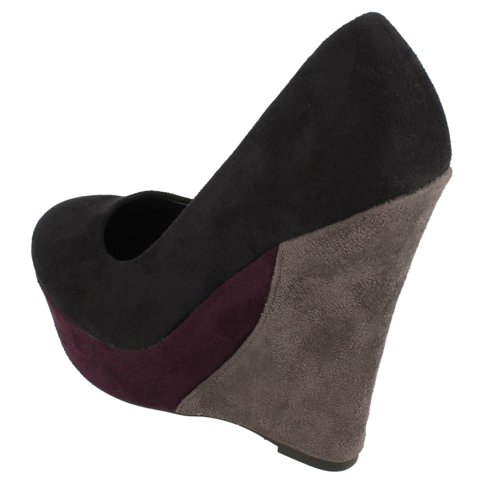 Ladies Spot On High Wedge Platform Court Shoe