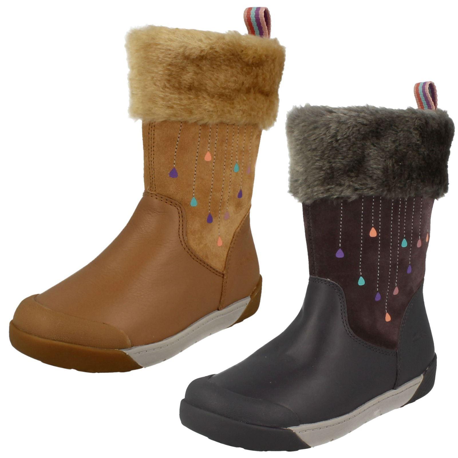 2a81f1e397c8a Details about Girls Clarks Calf Length Winter Boots Lil Folk Rae