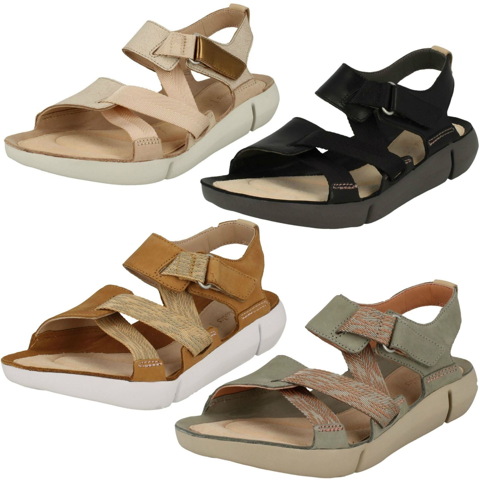 c99c1b01be3f41 Details about Ladies Clarks Trigenic Sporty Style Riptape Leather Sandals -  Tri Clover