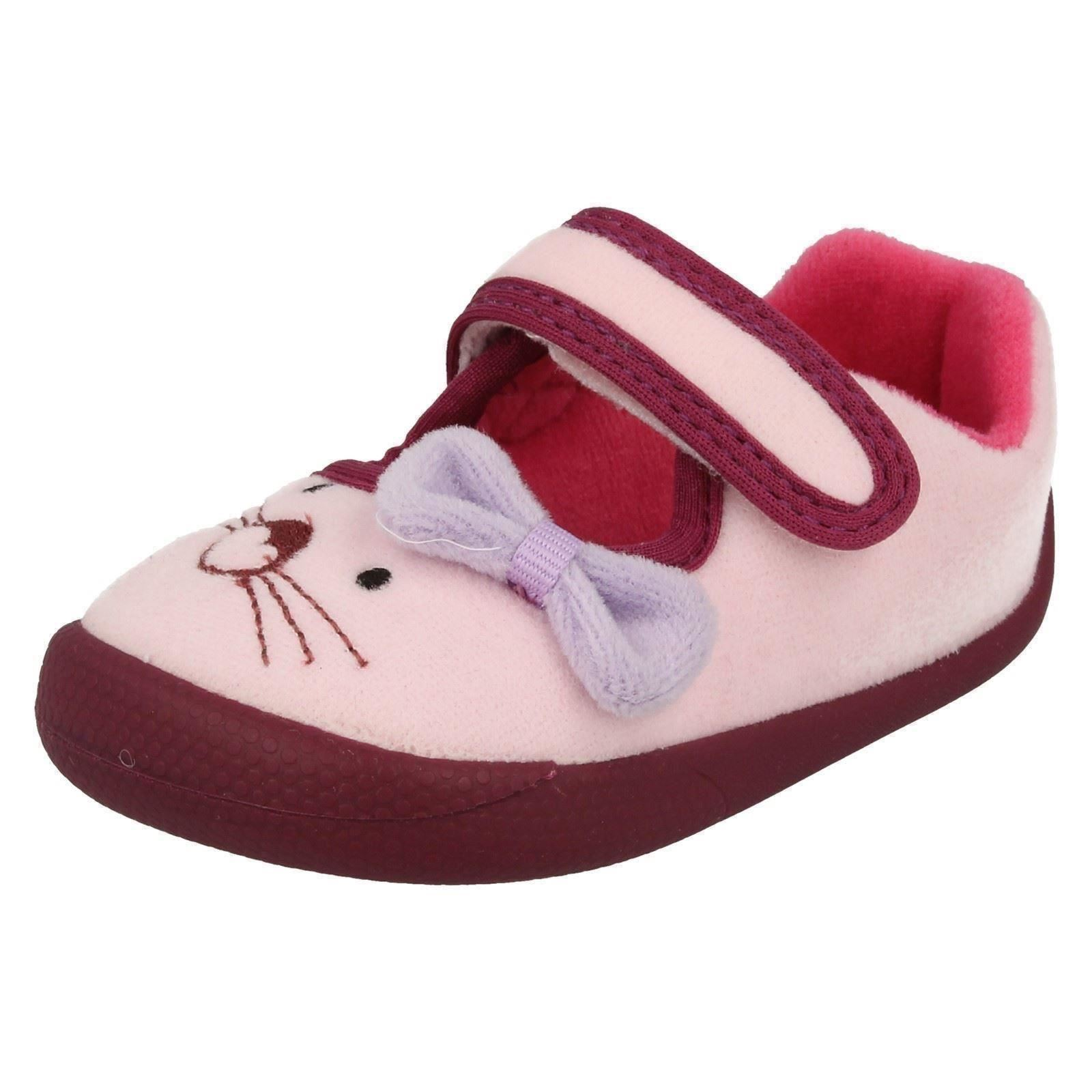 various design new design beautiful in colour Details about Infant Girls Clarks Machine Washable Hook & Loop Textile  Slippers Shilo Candy