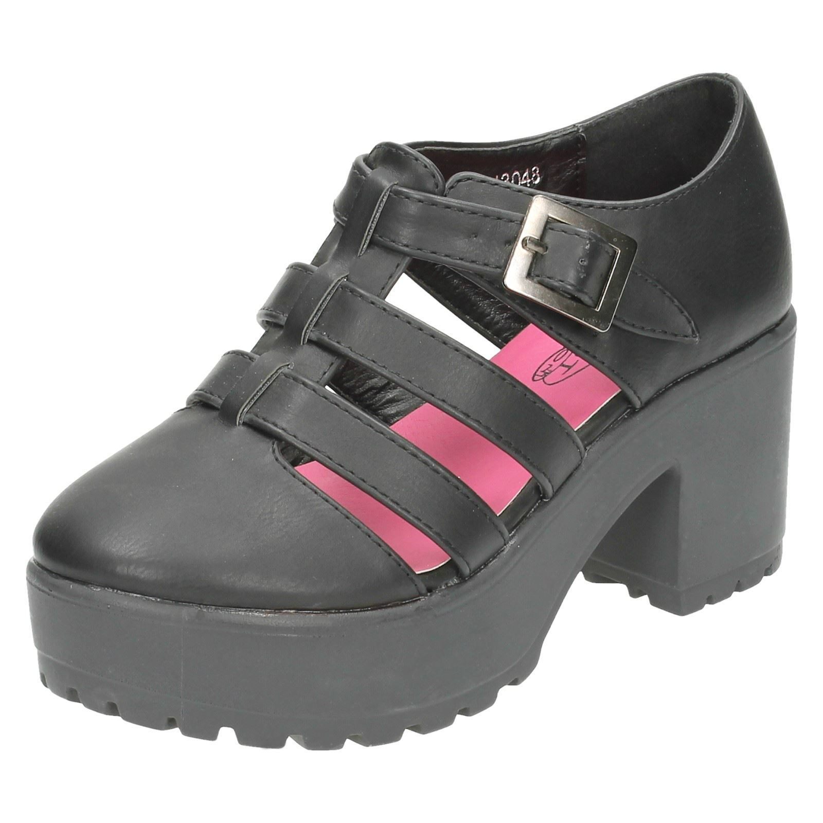 Girls Spot On High Platform Strappy Shoes - H3048