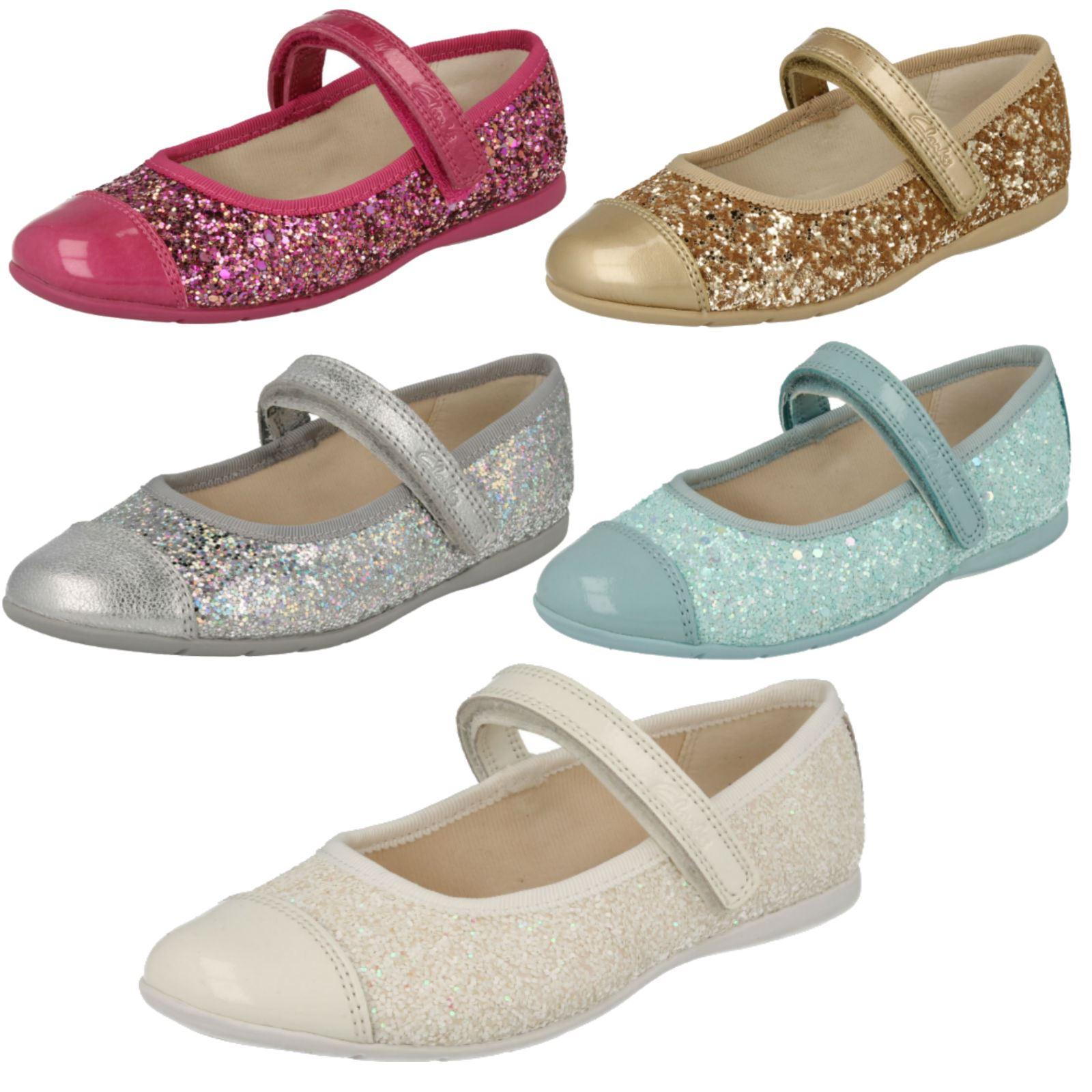 95d7288a Infantiles niñas Clarks gancho y bucle Mary Jane estilo Glitter ídolo de  danza zapatos de fiesta