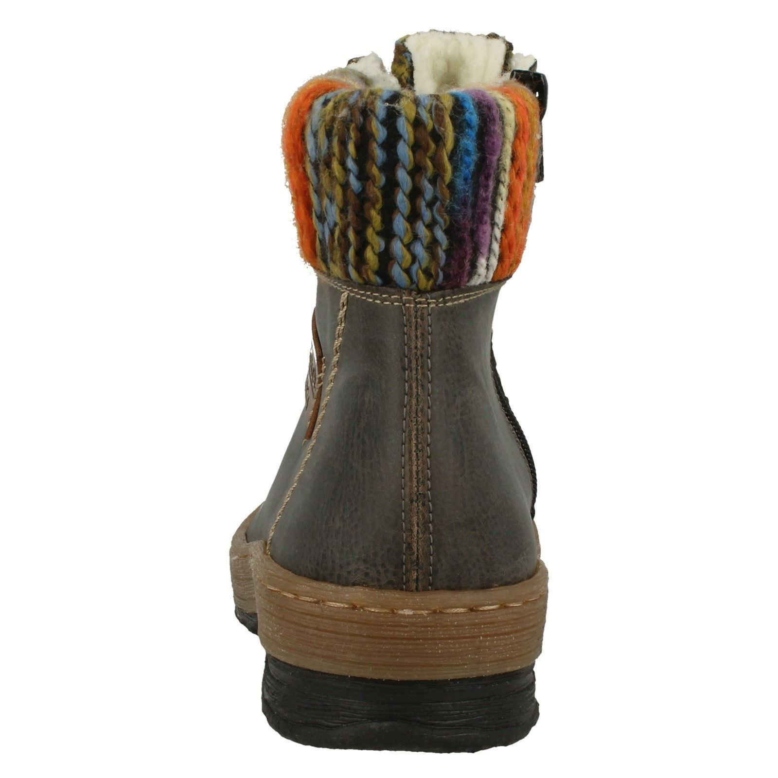 Ladies Ladies Ladies Rieker Stylish Knitted Collar Ankle Boots 'Z6743' ab1e26