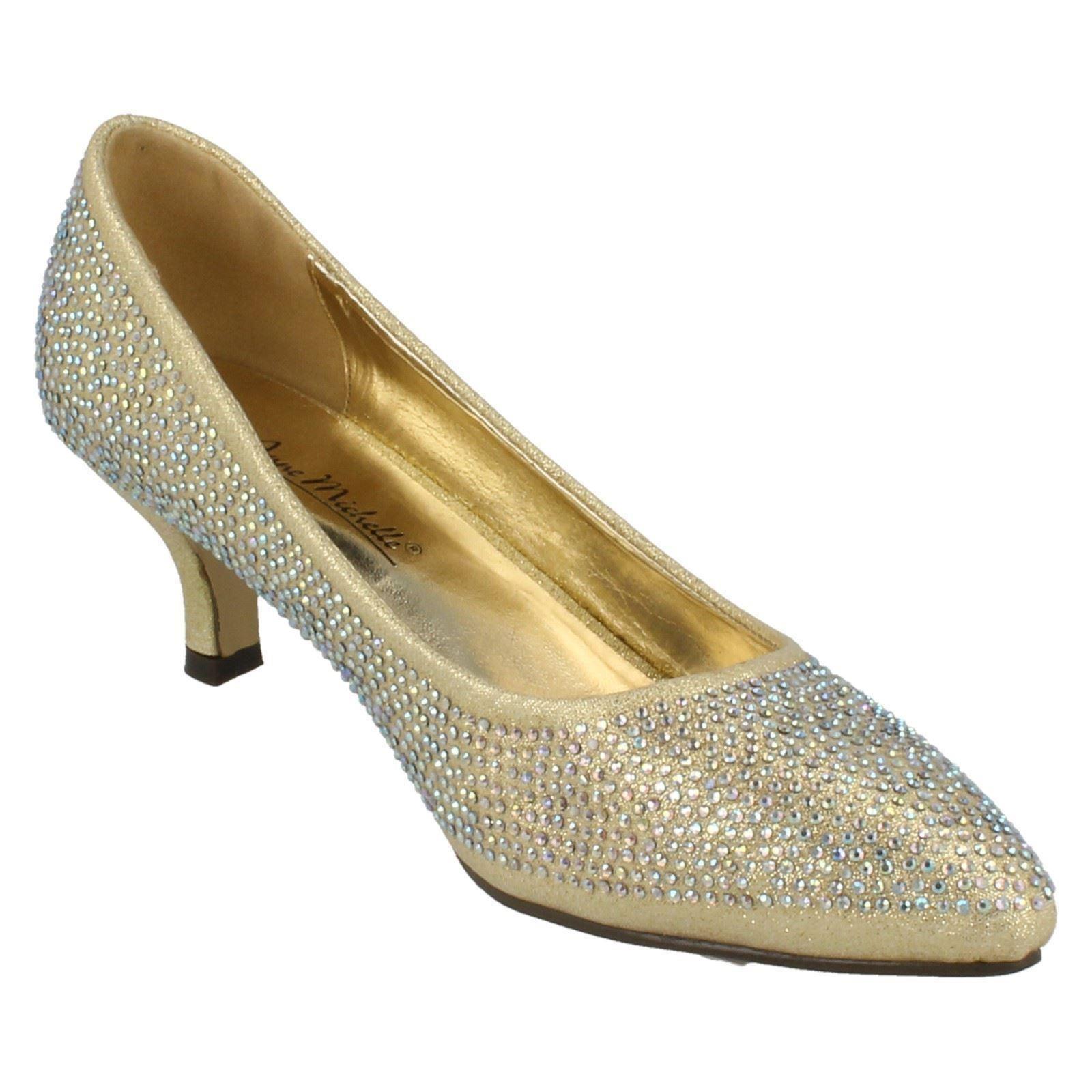 Ladies-Anne-Michelle-Diamante-Low-Heel-Court-Shoes thumbnail 14