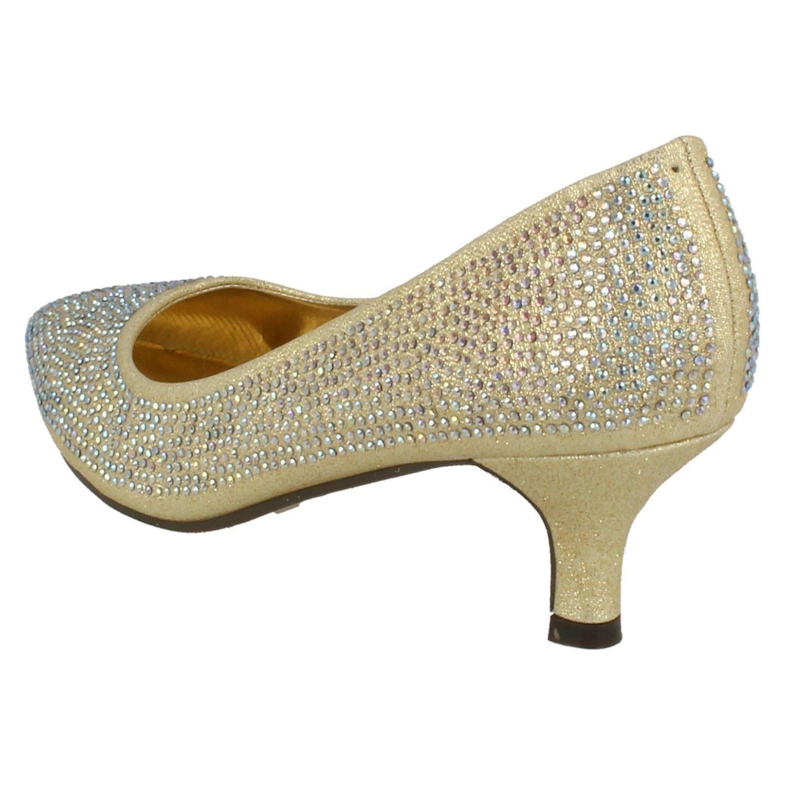 Ladies-Anne-Michelle-Diamante-Low-Heel-Court-Shoes thumbnail 15
