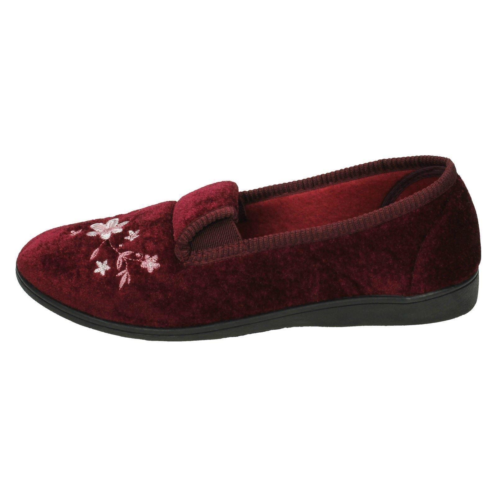 Damas Spot On Zapatillas de Calidad Estampado De Flores Zapatillas 'LS30'