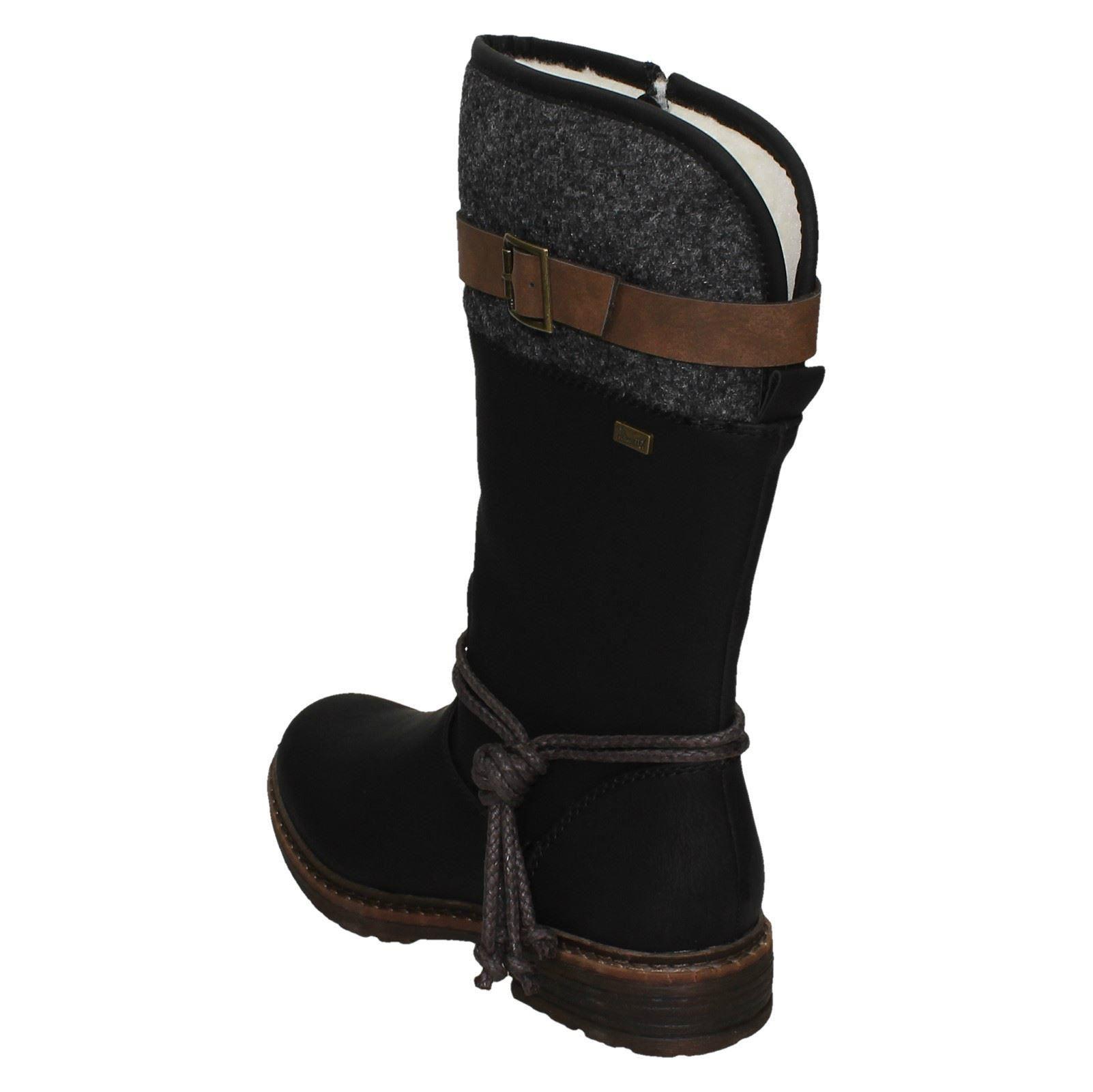 Ladies Rieker Warmlined Mid Calf Boots 94778 Black