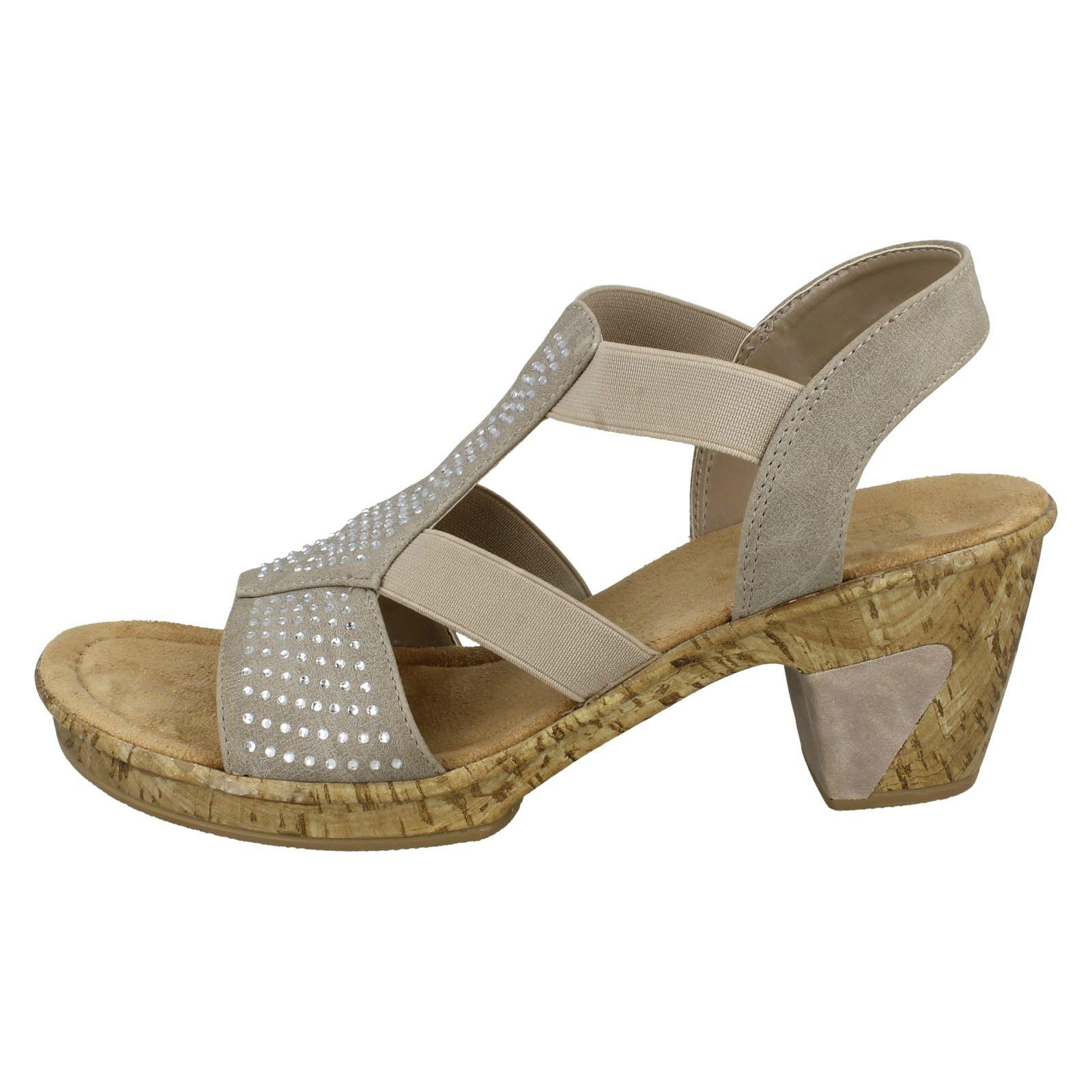 69732 Beige Diamate Rieker Sandals Ladies Heeled xUf4n58wPq