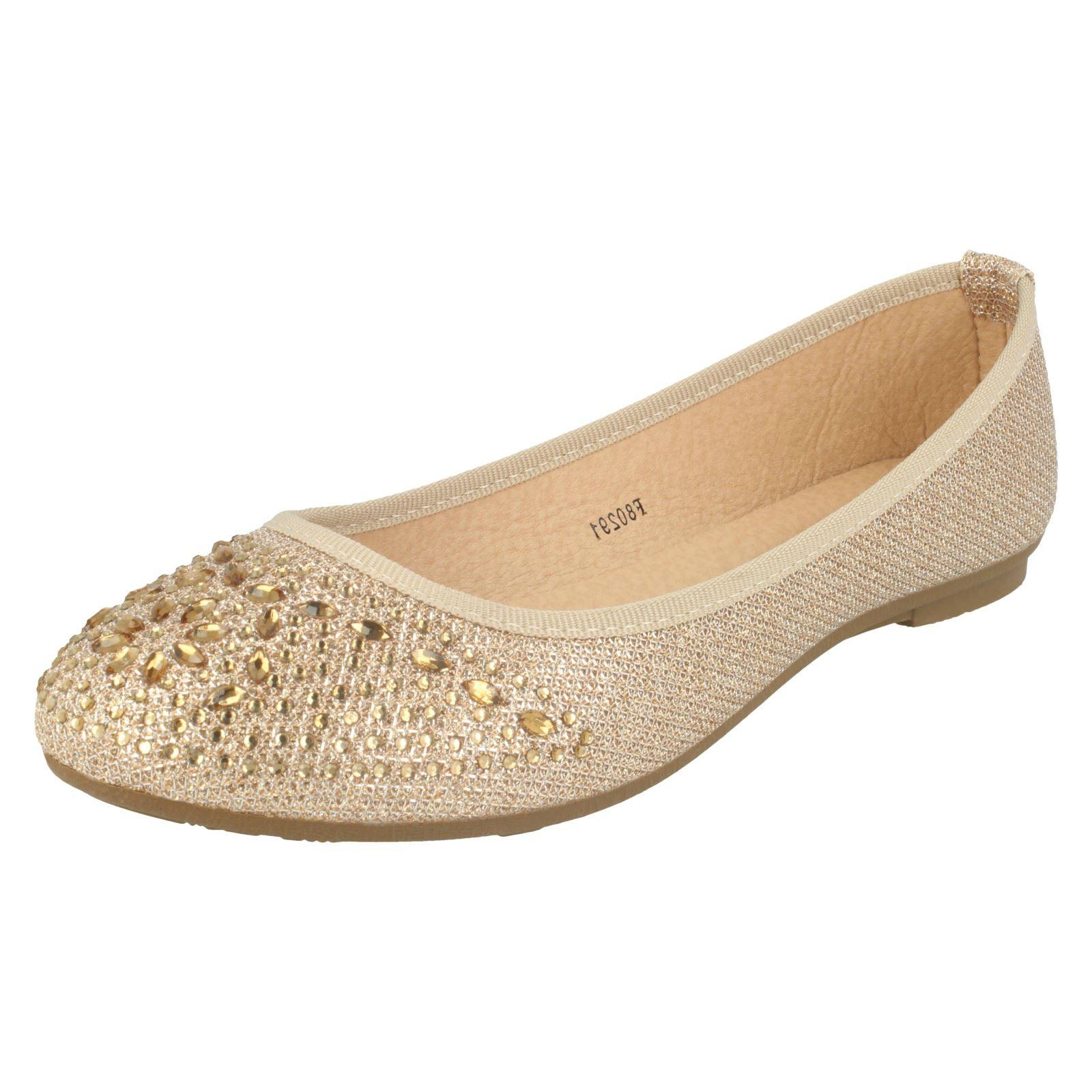 Partido señoras de punto en brillantes Plana Zapatos