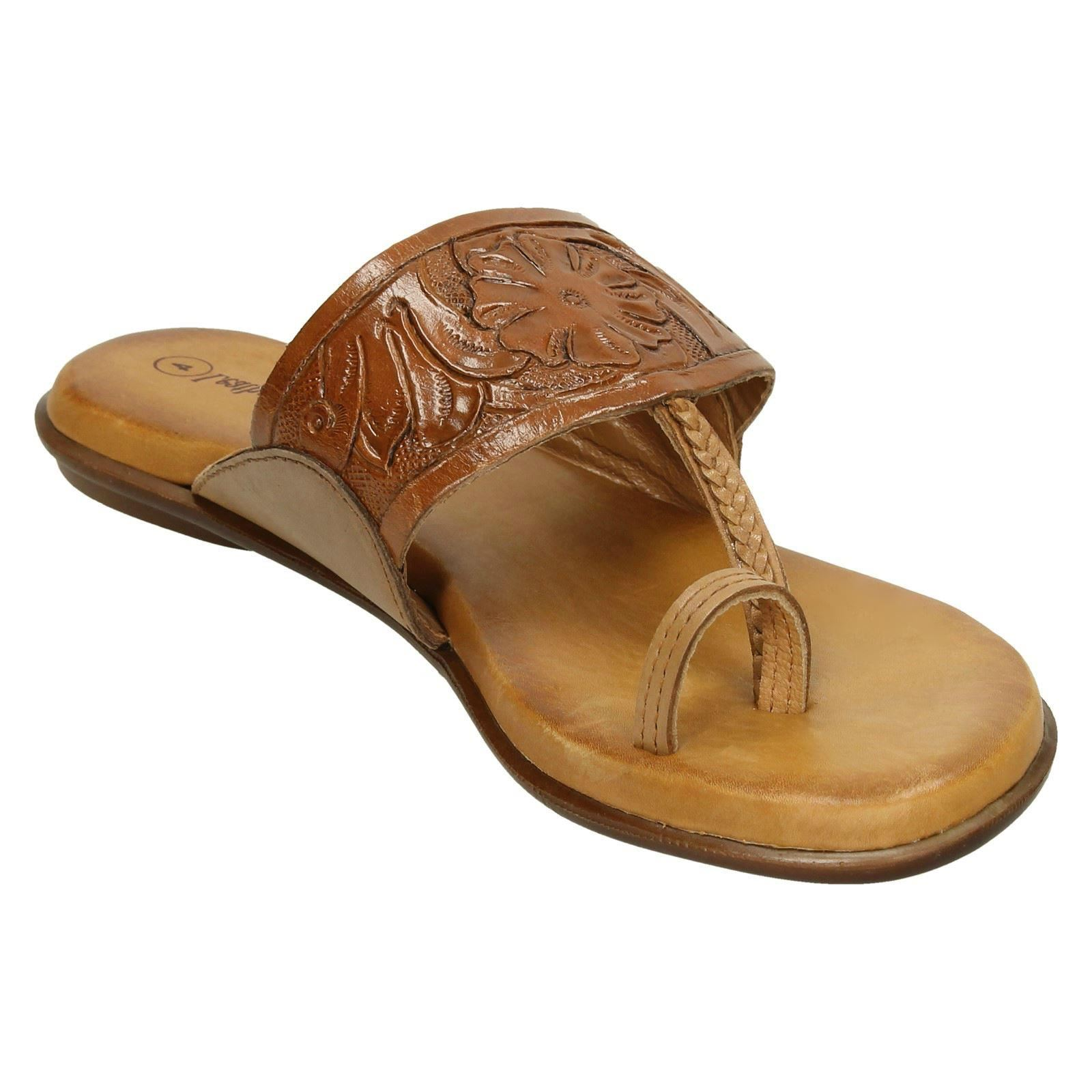 62e3974e5c8 Ladies-Leather-Collection-Flat-Toe-Loop-Sandals-F00041 thumbnail