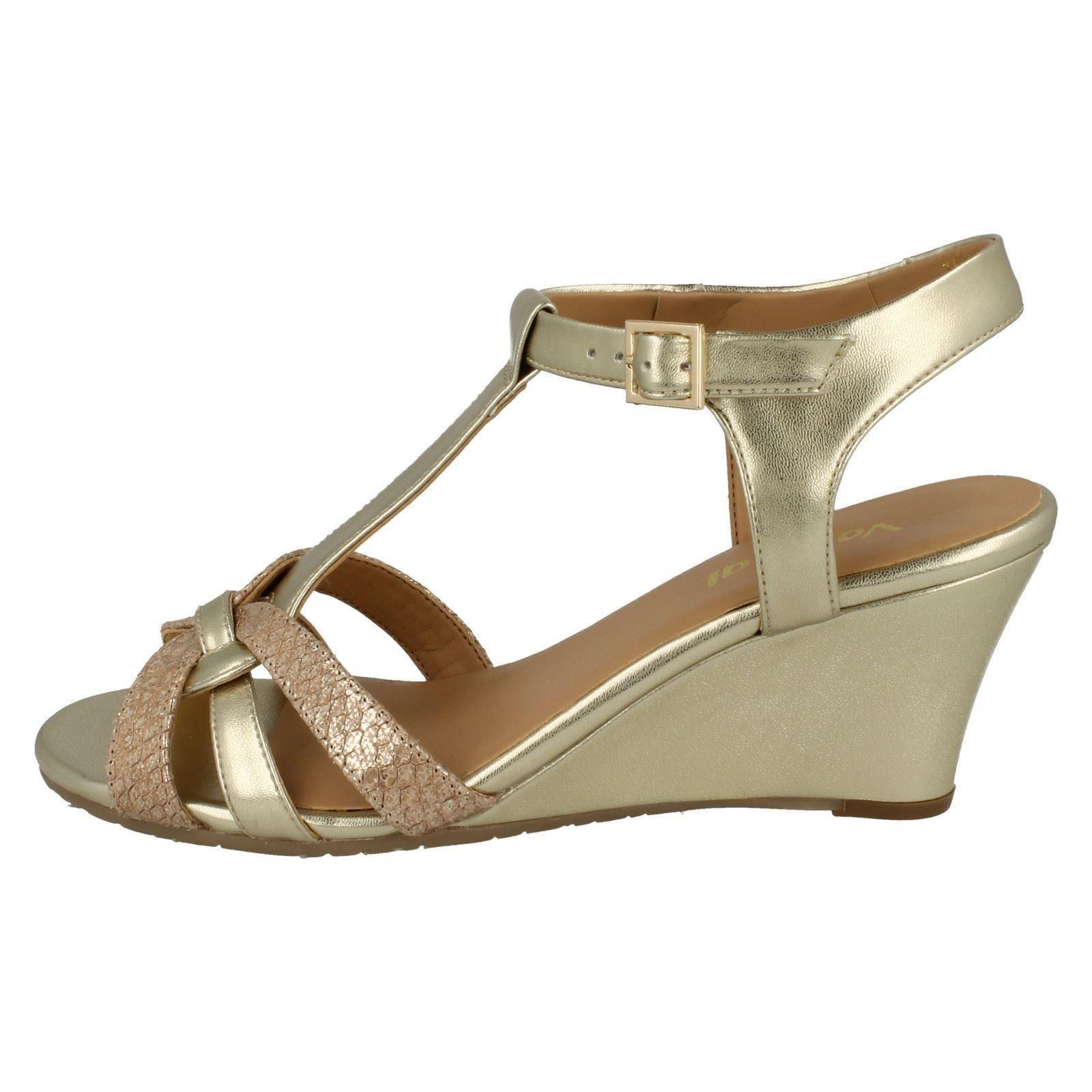 8dbfca7922fb Ladies Van Dal T-Bar Wedge Sandals Temple