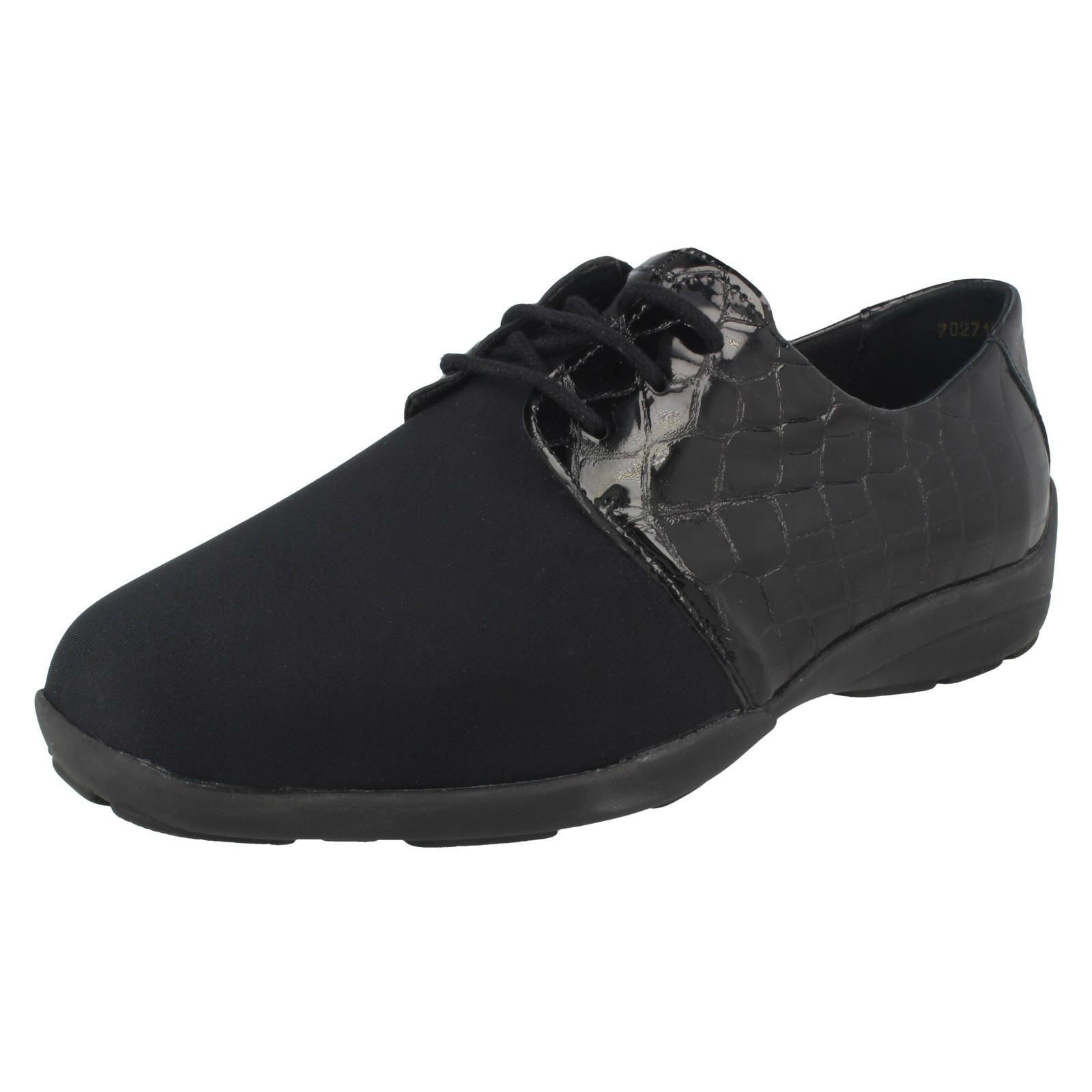 35f5c06451d Details about Ladies Easy B Rounded Toe Wide Fit Lace Up Textile Leather  Shoes Peggy