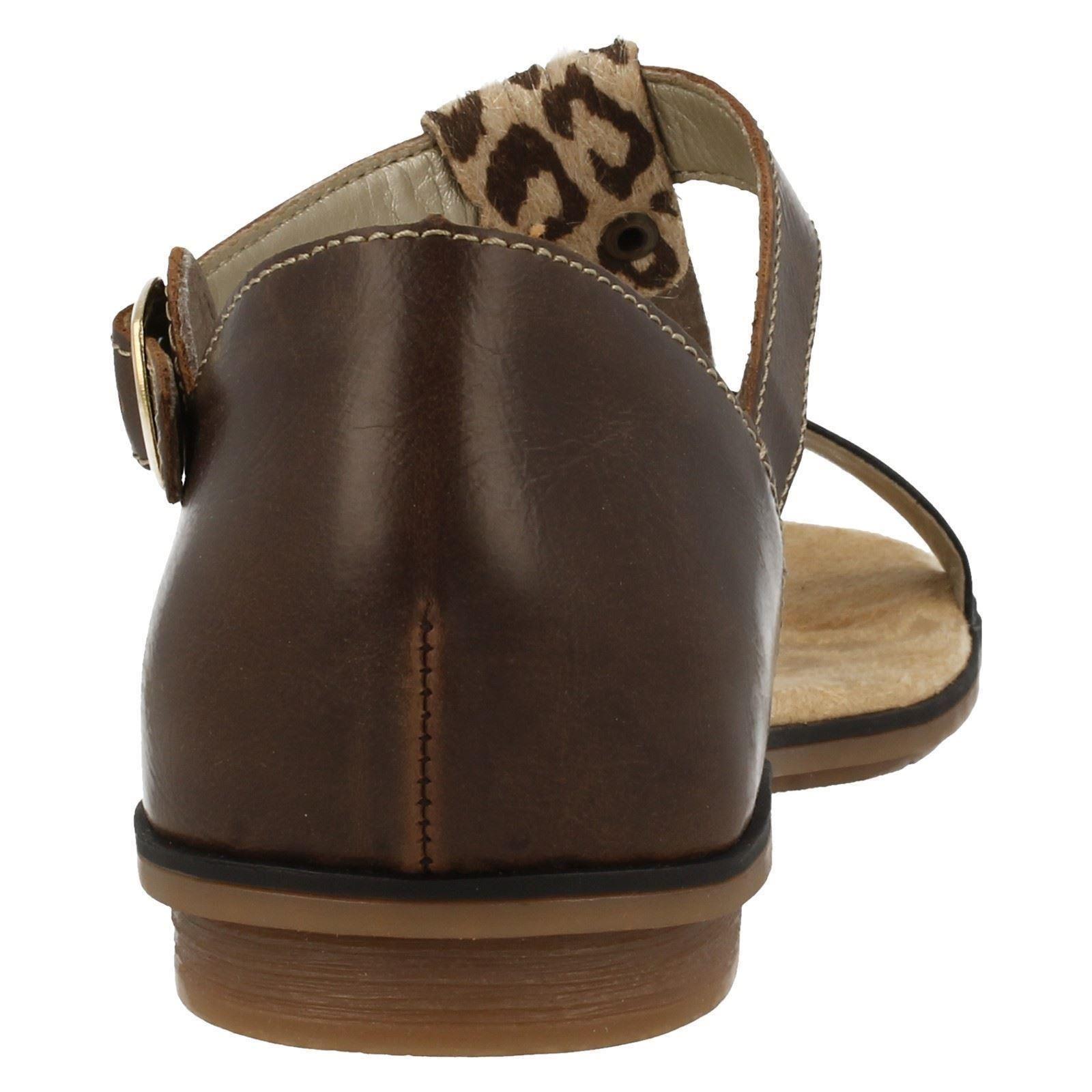 Damas Rieker Leopardo T-Bar Sandalias 64259