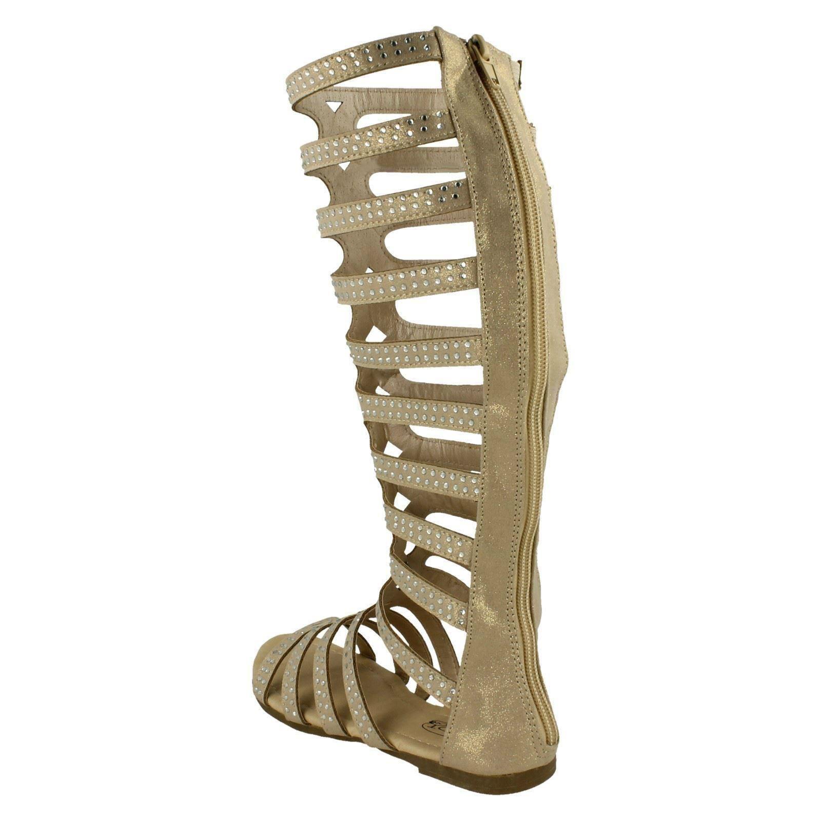 Spot On Girls Knee High Gladiator Sandals