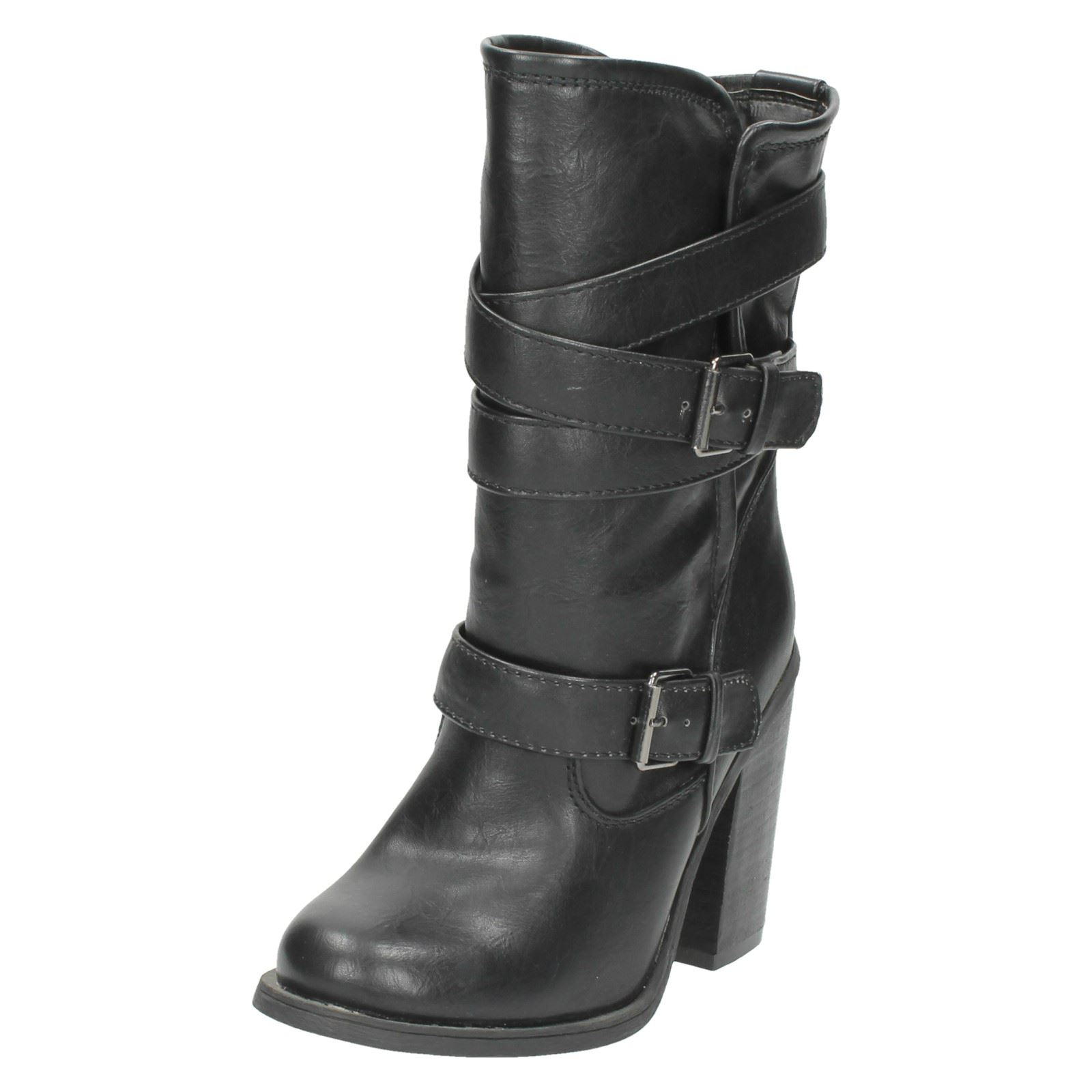 Ladies Spot on Mid Calf Length BOOTS With Block Heel - F5929 7 UK ... afdfd37faa