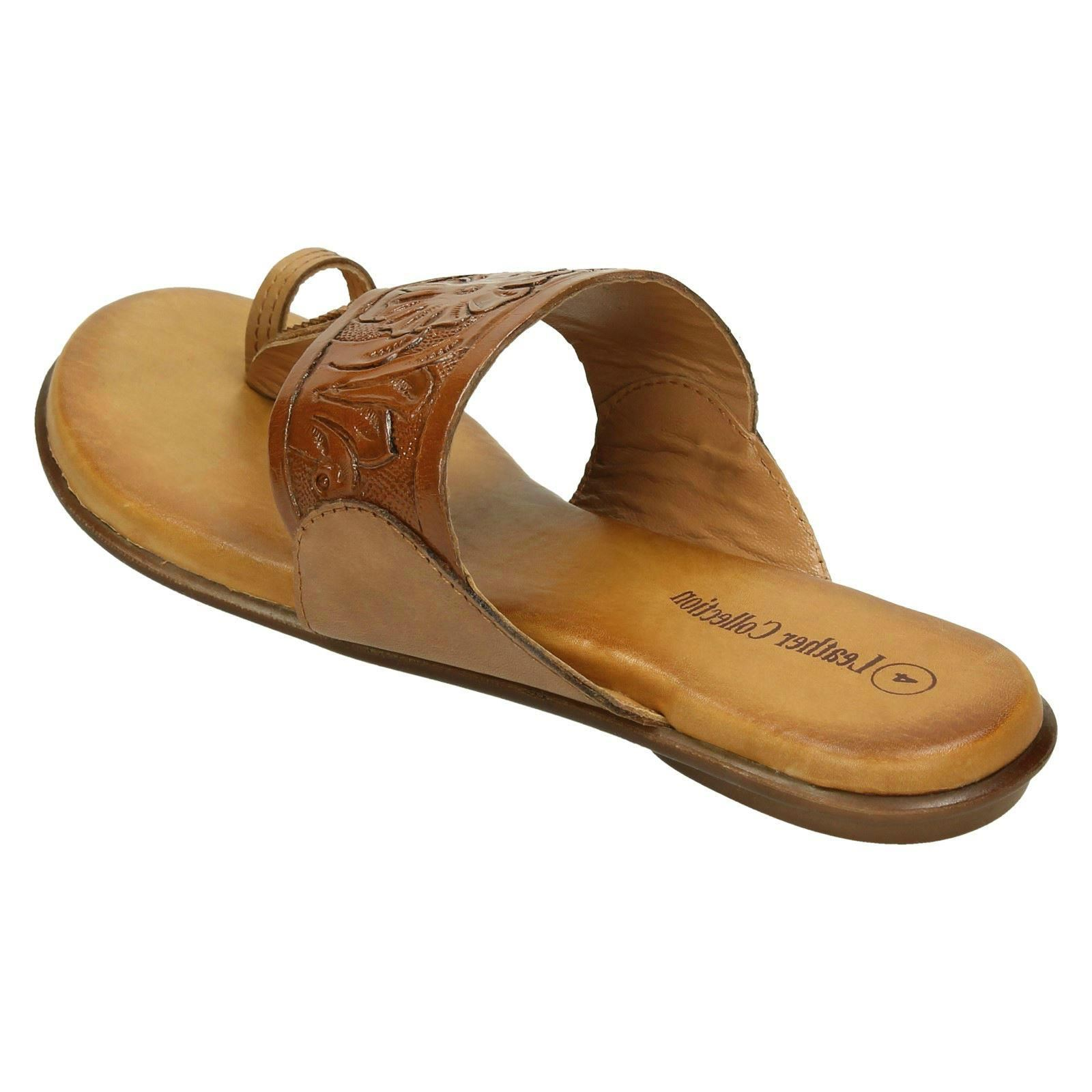 Ladies Leather Collection Flat Toe Loop Sandals F00041 Ebay