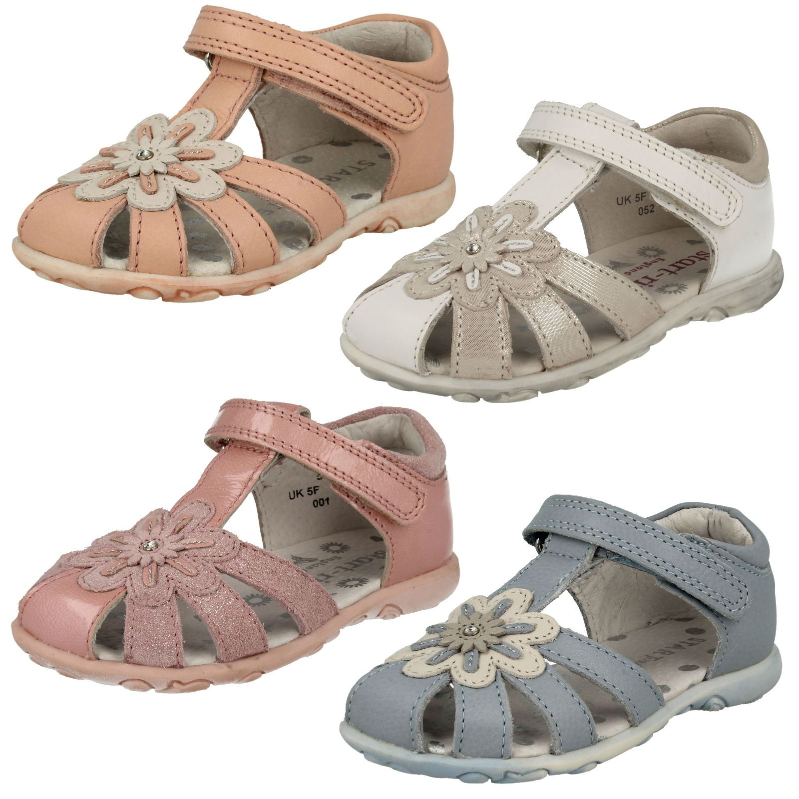 365f07a4810fb Details about Infant Girls Startrite Closed Toe Hook & Loop Leather Sandals  Primrose
