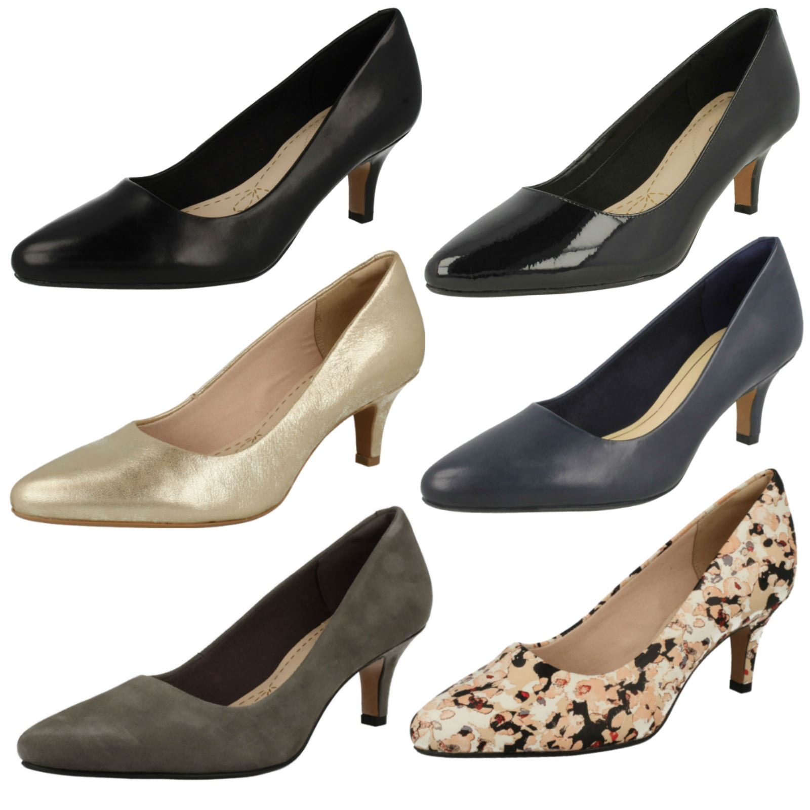 Ladies Clarks Leather Slip On Smart Court Shoes - 'Isidora Faye'