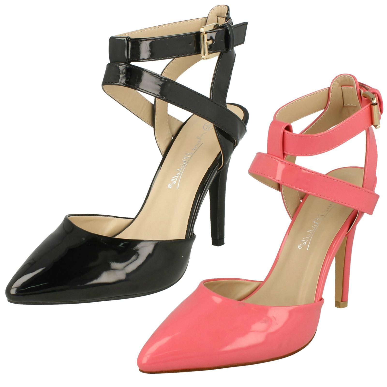 a1e565f34ba Details about Ladies Anne Michelle High Heel Ankle Strap Court Shoe