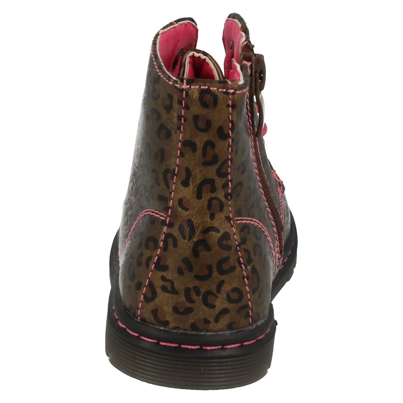 Toddler Infant Girls Spot On Funky Printed Lace Up Zip Chunky Ankle Boots H4109